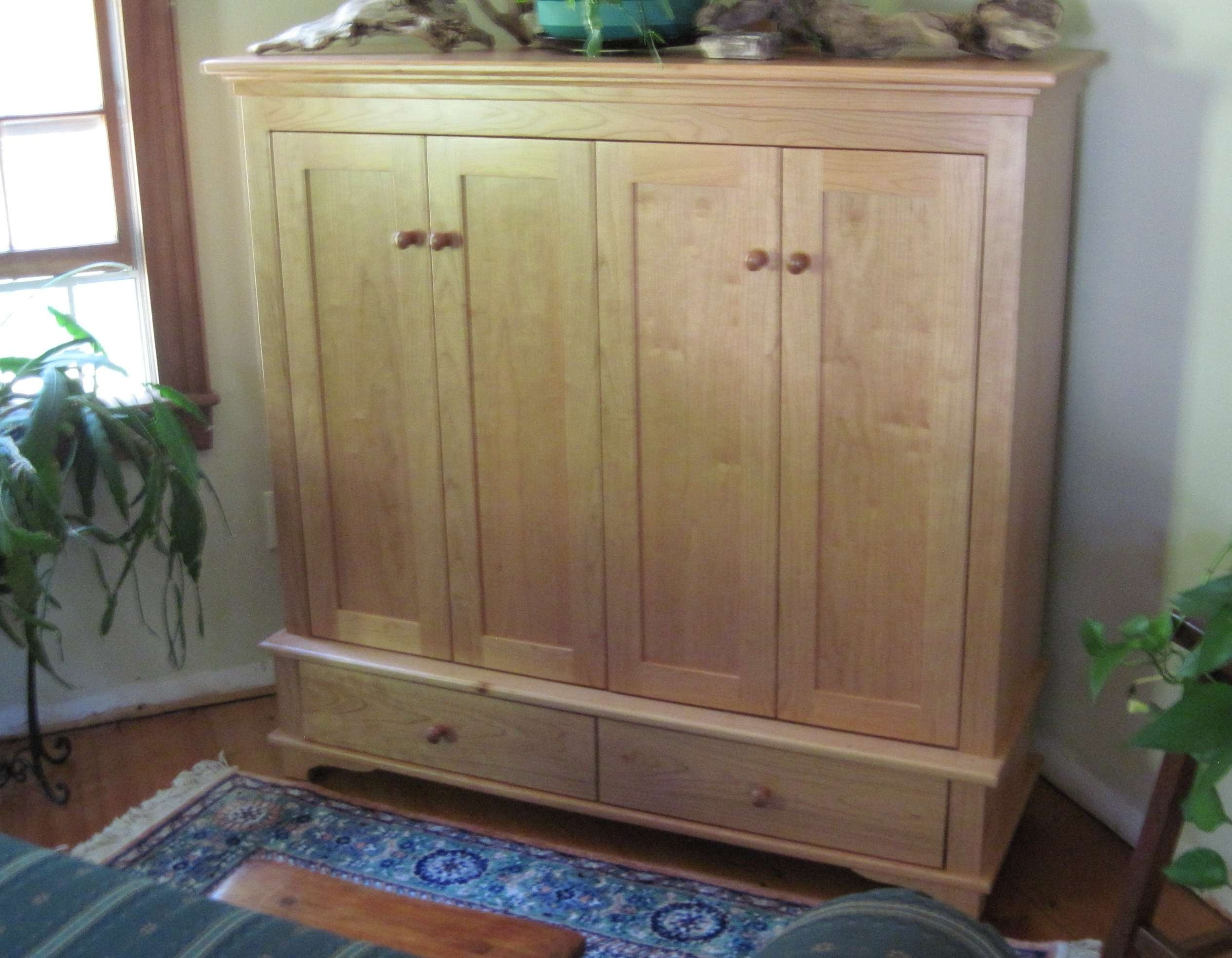Brown Wooden Tv Cabinet With Doors And Drawers On The Corner Of Pertaining  To Enclosed Tv