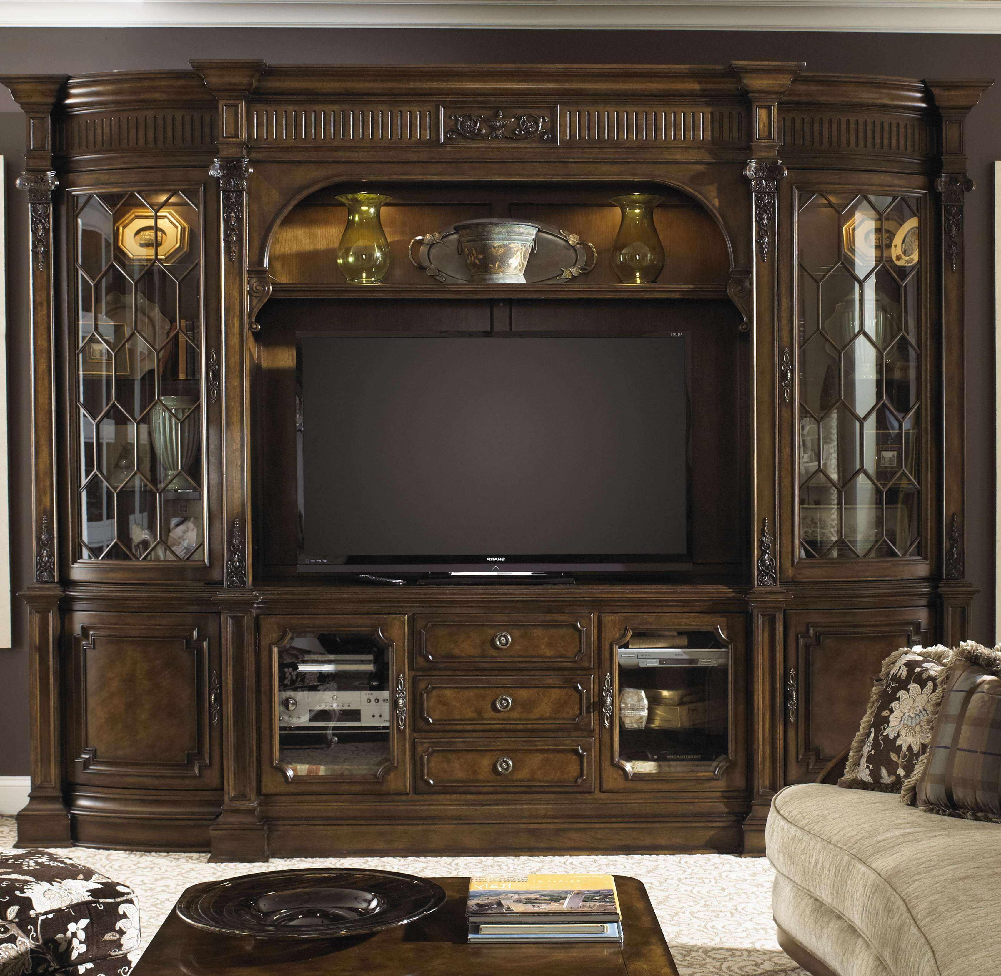 Brown Wooden Tv Cabinet With Storage And Shelf For Tv On The Throughout Traditional Tv Cabinets (View 1 of 20)