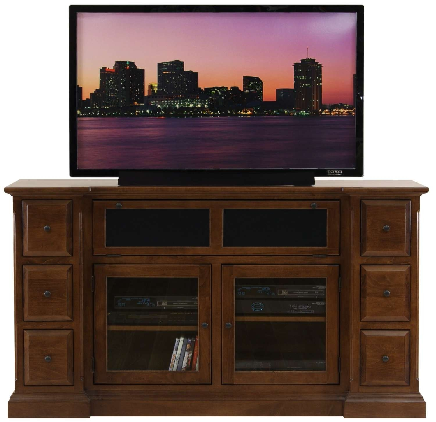 Brown Wooden Tv Stand With Storage With Glass Doors Combined With Regarding Wooden Tv Cabinets (View 2 of 20)
