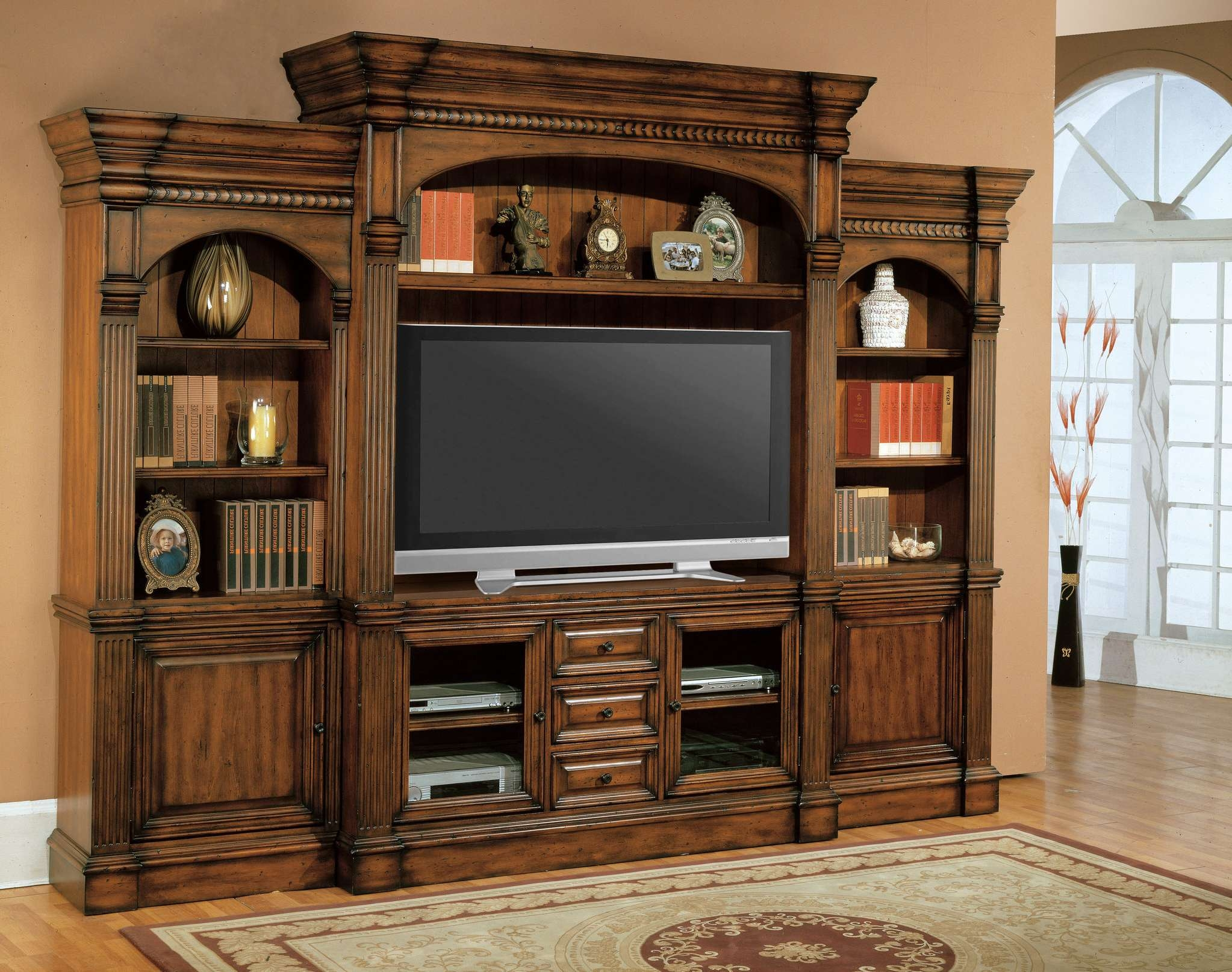 Brown Wooden Yv Cabinet With Wooden Door And Rectangle Flat Screen Inside Enclosed Tv Cabinets For Flat Screens With Doors (View 3 of 20)