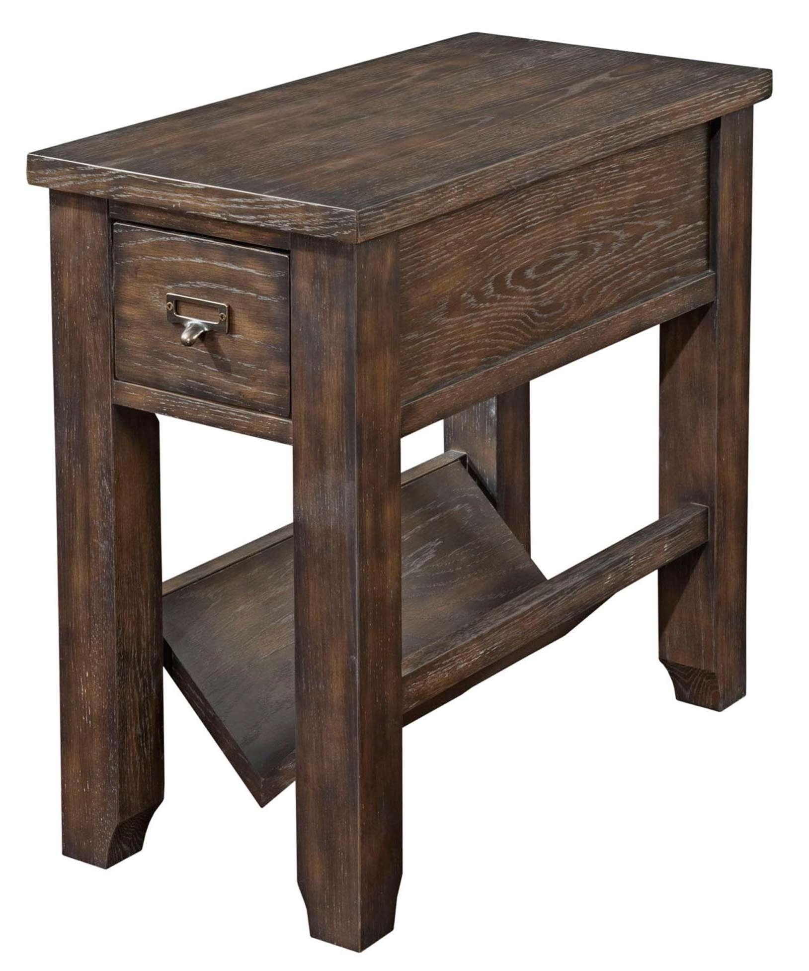 Broyhill Furniture Attic Retreat Rustic Style Chairside Table With Inside Popular Coffee Tables With Magazine Storage (View 7 of 20)