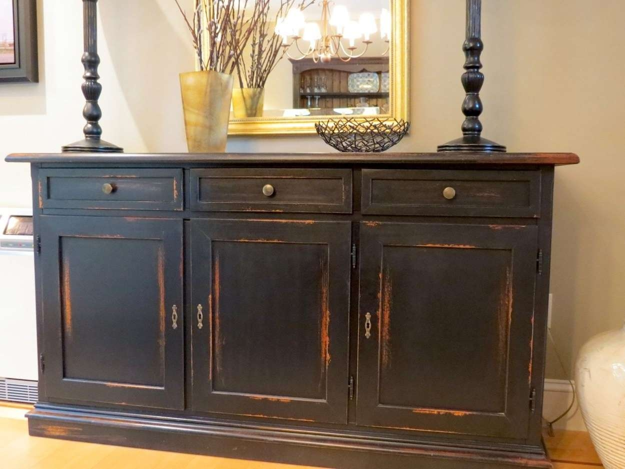 Buffet For Dining Room Brown Wooden Solid Round Table Big Long Within Black Dining Room Sideboards (View 15 of 20)