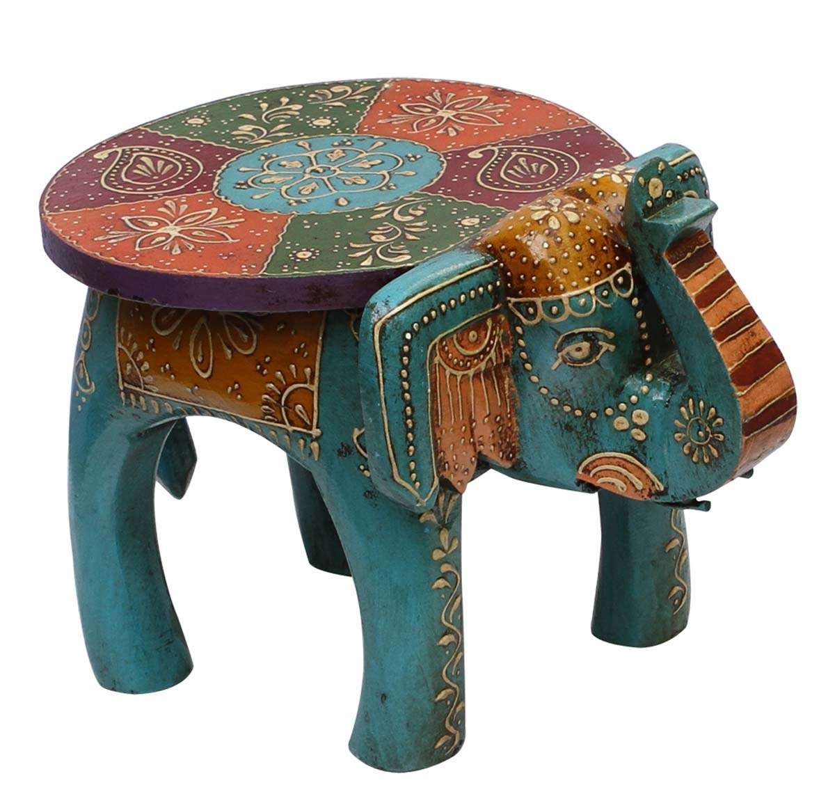 """Bulk Wholesale Handmade 10"""" Elephant Shaped Wooden Round Blue Throughout Newest Elephant Coffee Tables (View 3 of 20)"""