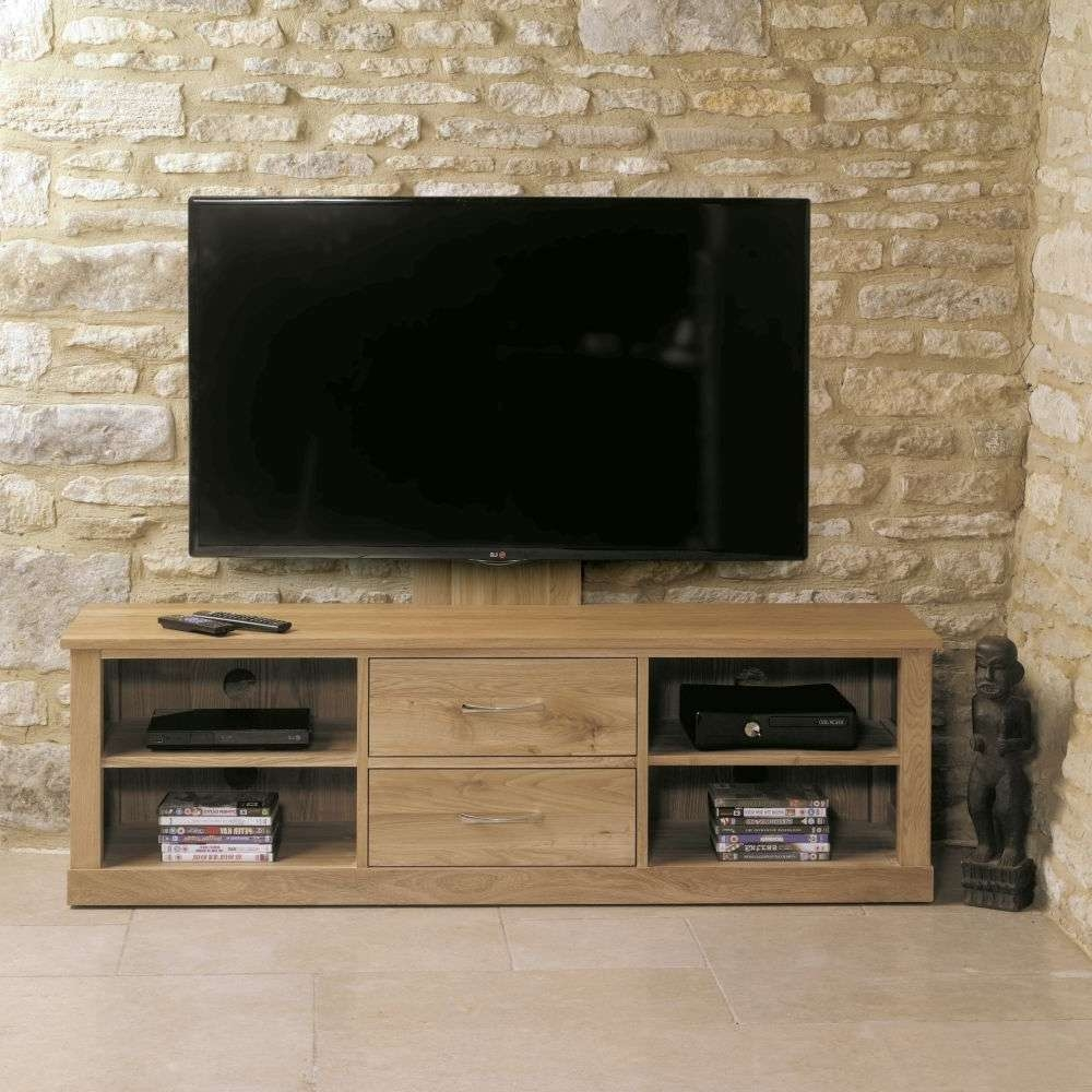 Buy Baumhaus Mobel Oak Mounted Widescreen Television Cabinet In Widescreen Tv Cabinets (View 4 of 20)