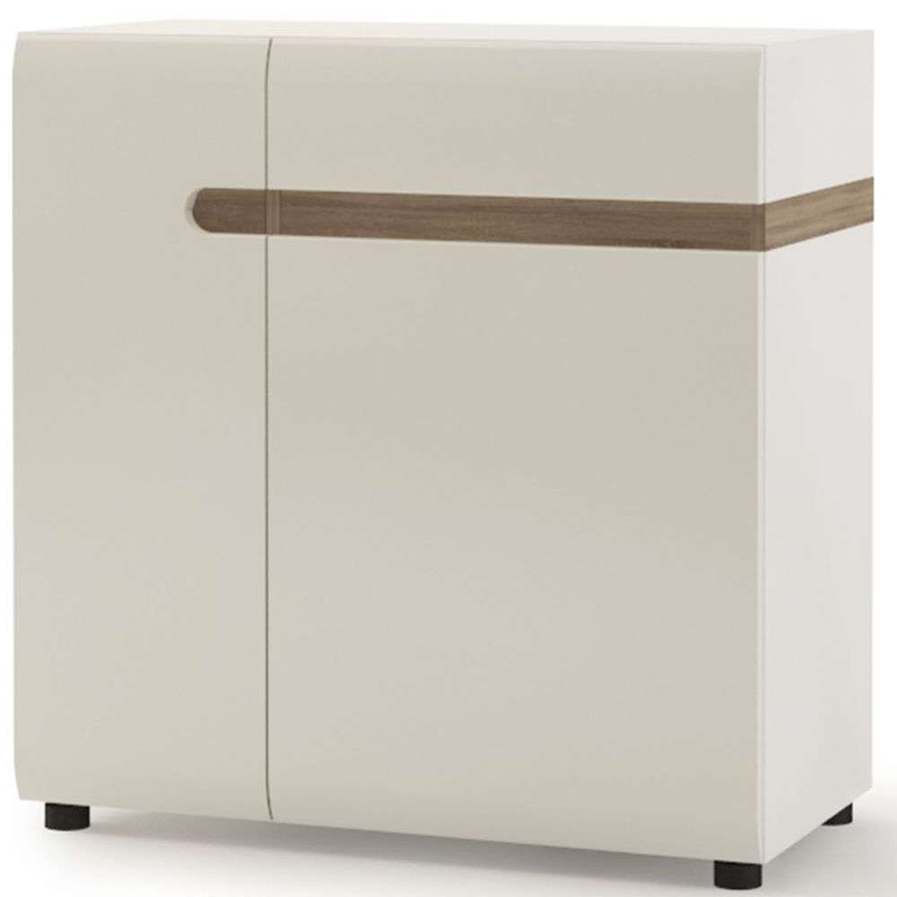 Buy Chelsea White High Gloss Sideboard With Truffle Oak Trim Pertaining To White High Gloss Sideboards (View 4 of 20)
