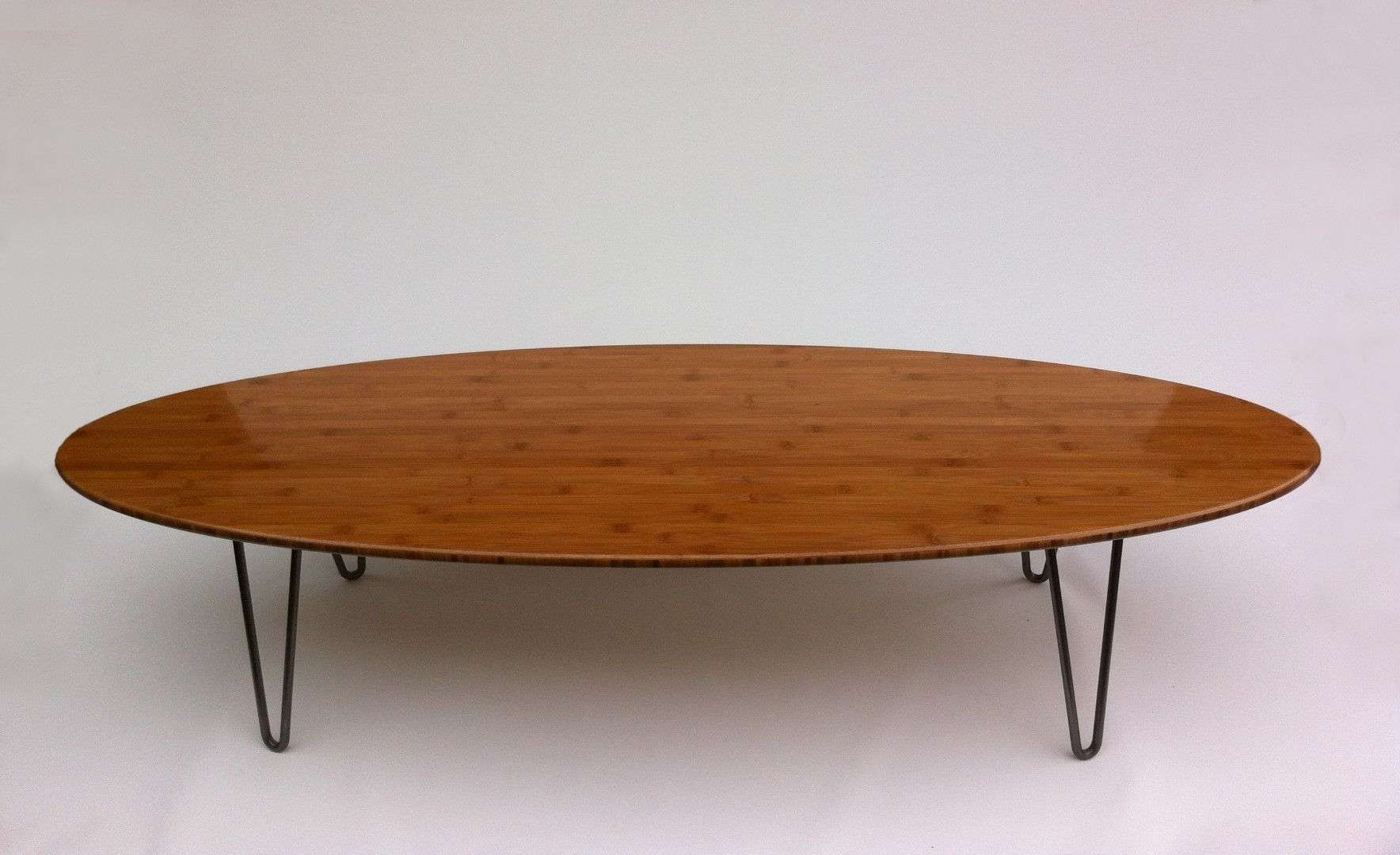 """Buy Custom 47"""" Surf Board Shaped Elliptical Mid Century Modern Within Favorite Oval Shaped Coffee Tables (View 3 of 20)"""