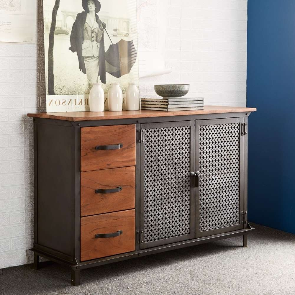 Buy Indian Hub Evoke Iron And Wooden Jali 3 Drawer Sideboard With Regard To Indian Sideboards Furniture (View 10 of 20)