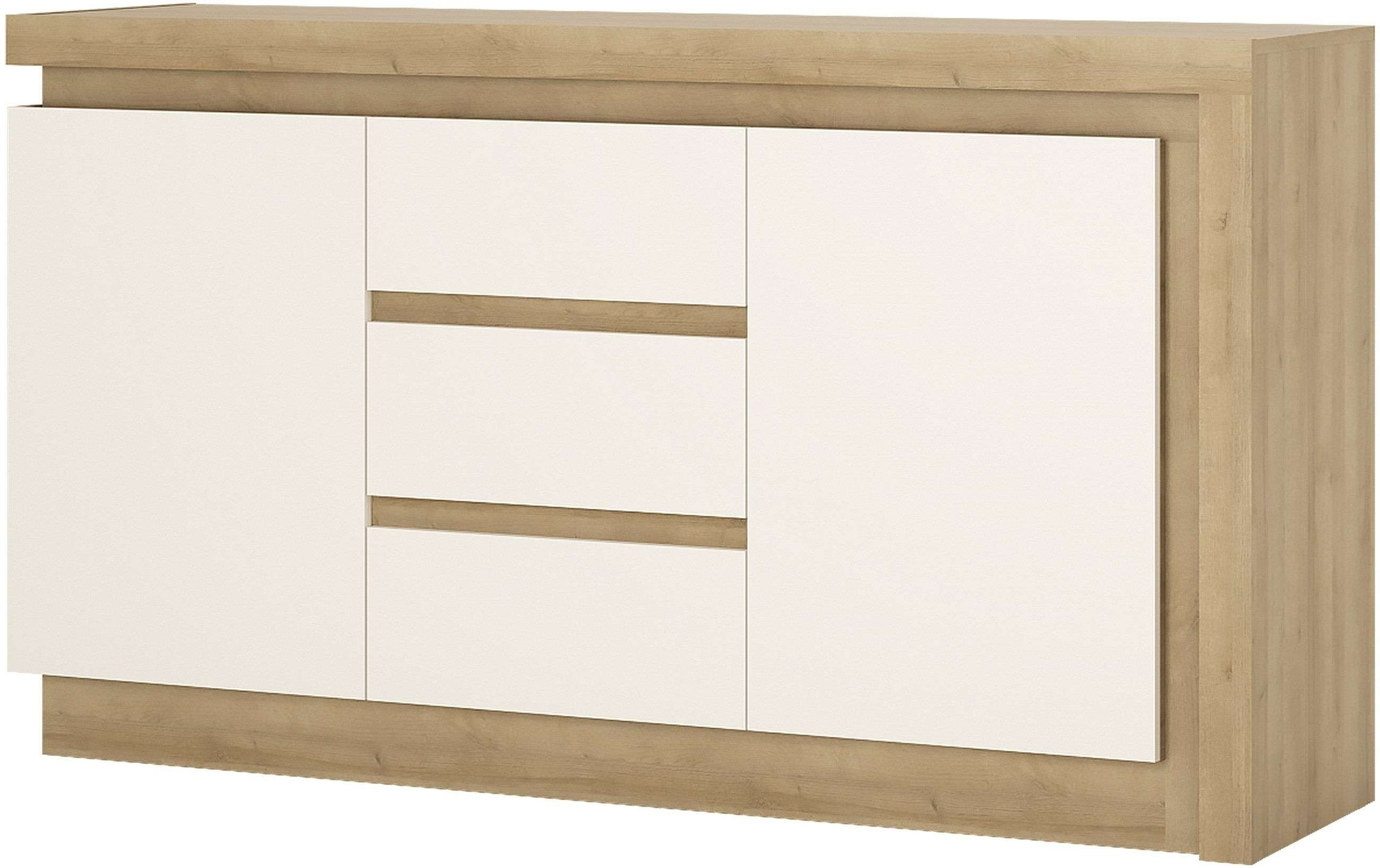 Buy Lyon Riviera Oak And White High Gloss Sideboard – 2 Door 3 Pertaining To White High Gloss Sideboards (View 5 of 20)