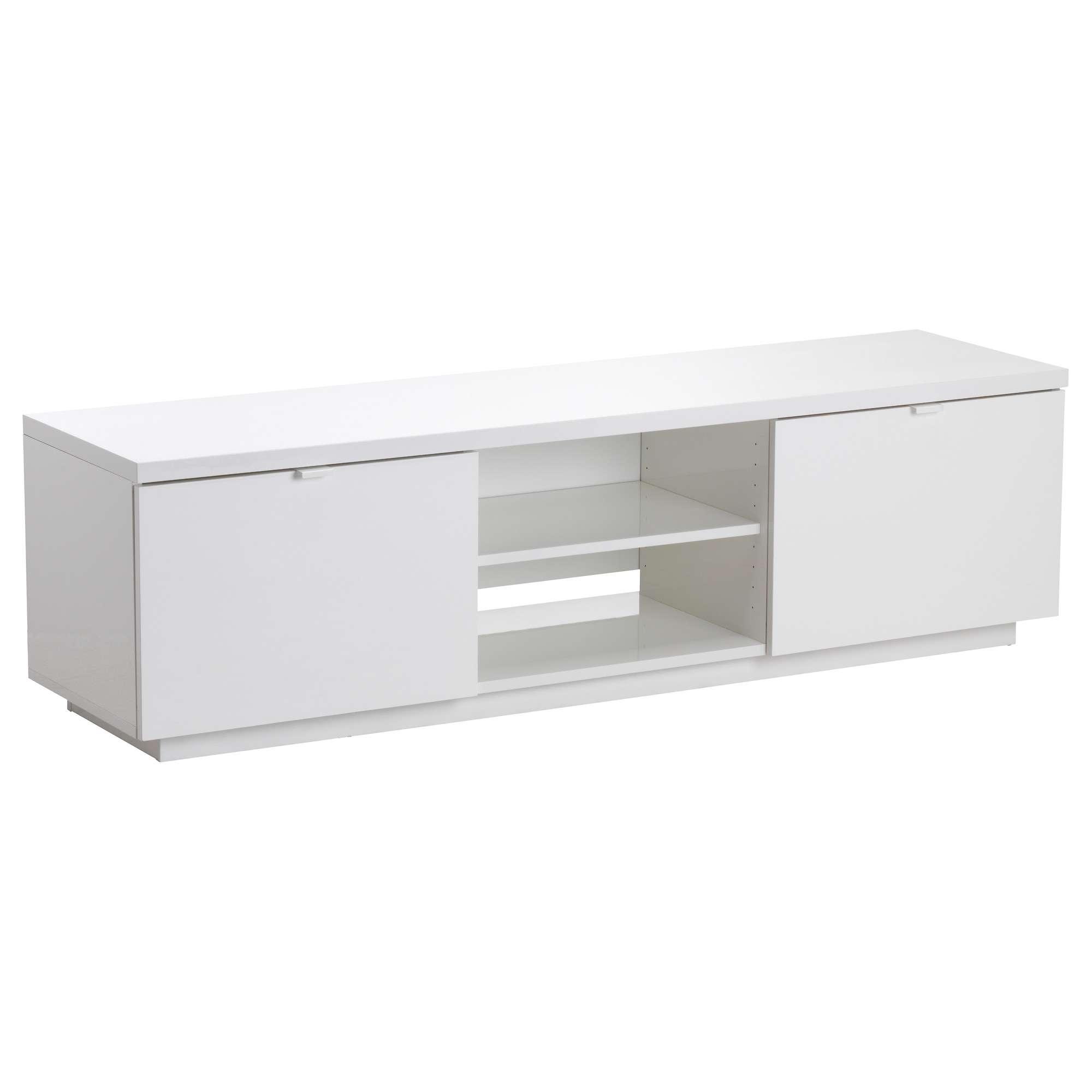 Byås Tv Bench High Gloss White 160x42x45 Cm – Ikea Regarding Long White Tv Cabinets (View 8 of 20)