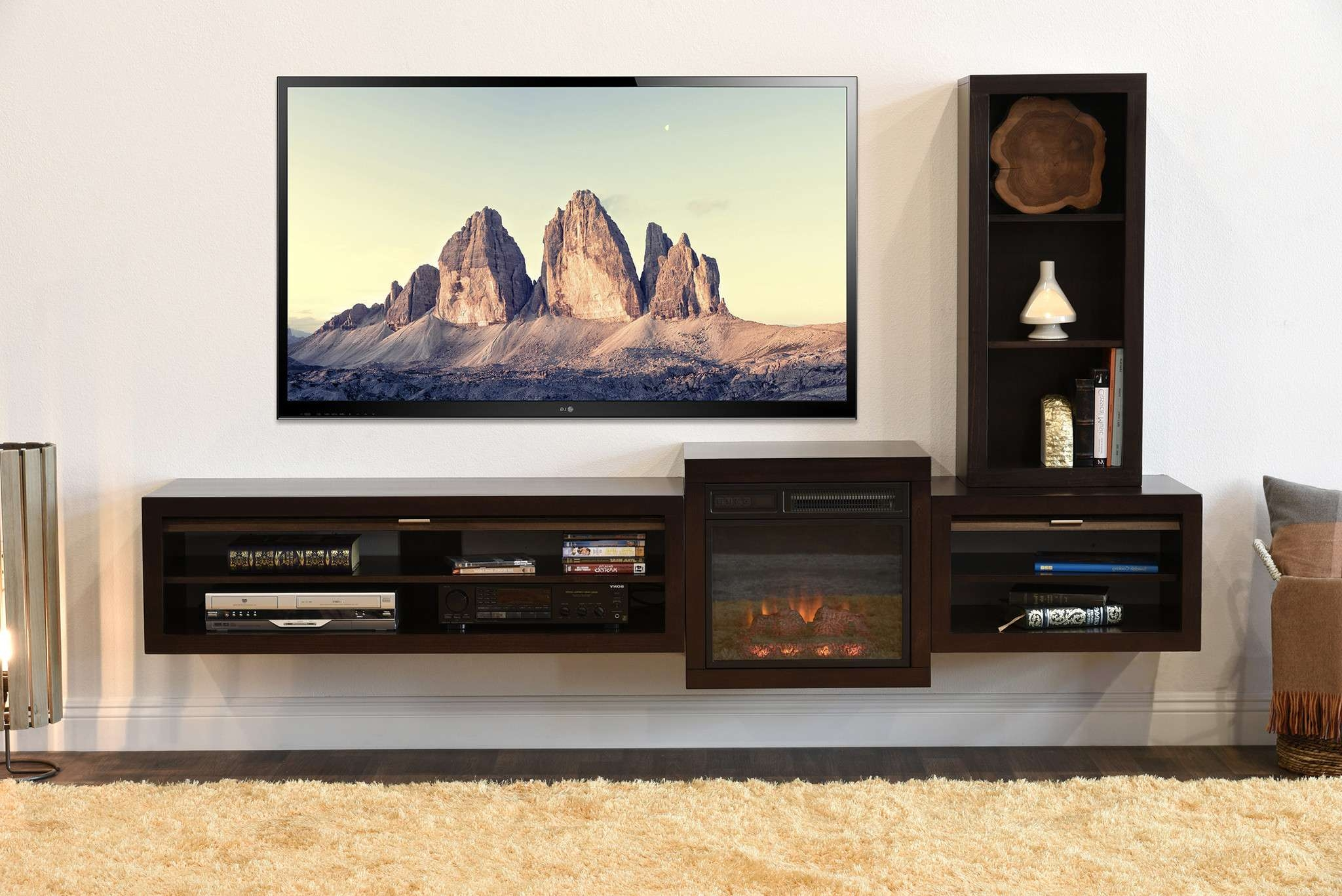 Cabinet: Nice Dark Wood Floating Tv Stand With Modern Fireplace Throughout Floating Tv Cabinets (View 10 of 20)