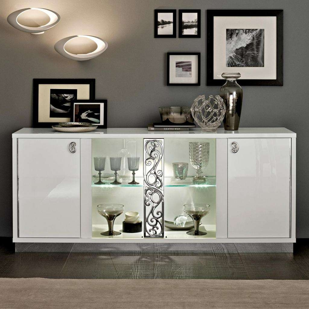 Caligula Italian White High Gloss 4 Door Sideboard, 2 Glass Doors With Glass Sideboards (View 1 of 20)