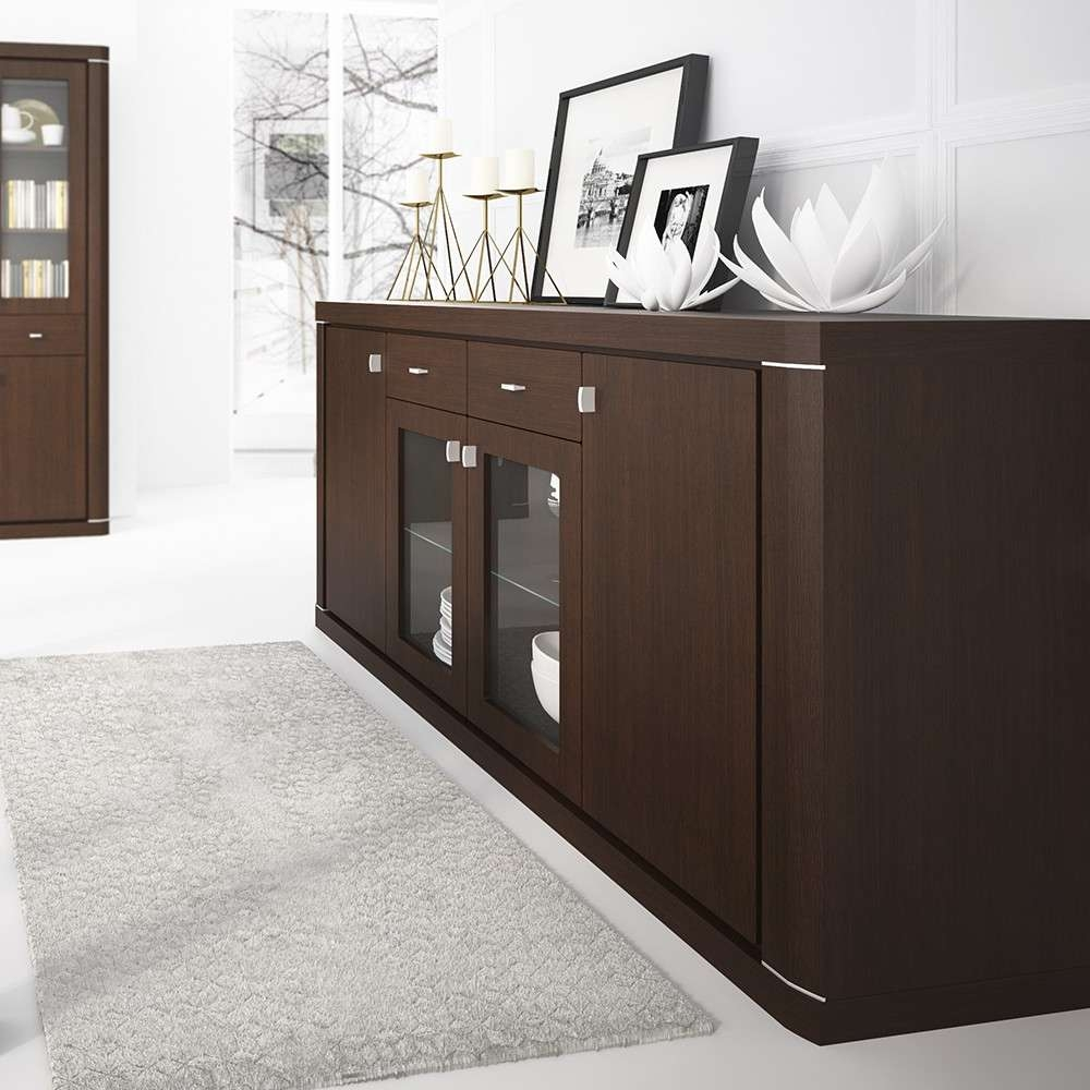 Camden Wide 4 Door 2 Drawer Glazed Sideboard In Dark Wenge Inside Wenge Sideboards (View 5 of 20)