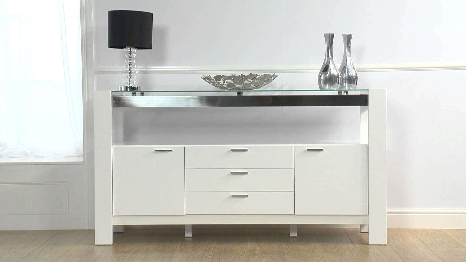 Cannes White High Gloss Sideboard – Ofstv – Youtube Throughout High White Gloss Sideboards (View 13 of 20)