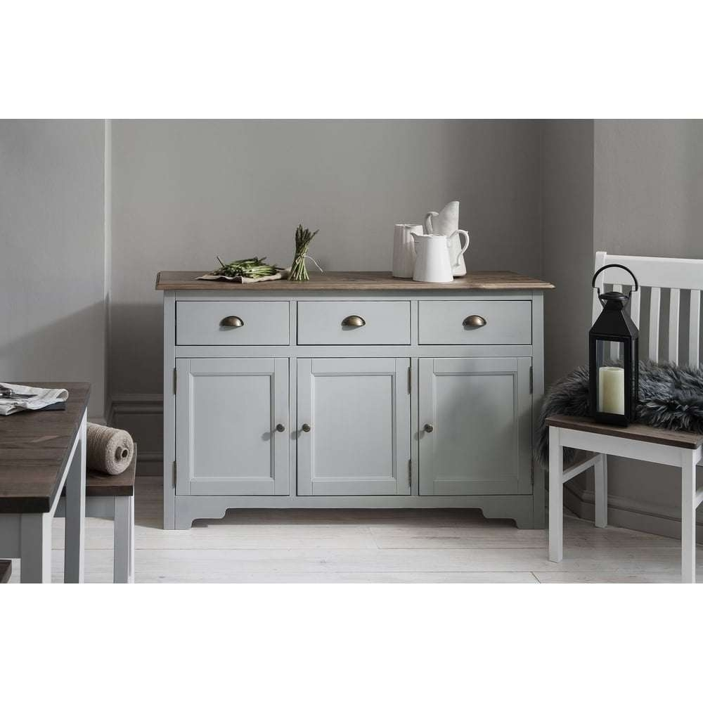 Canterbury 3 Drawer Sideboard Cabinet In Silk Grey | Noa & Nani Intended For Dark Sideboards (View 17 of 20)