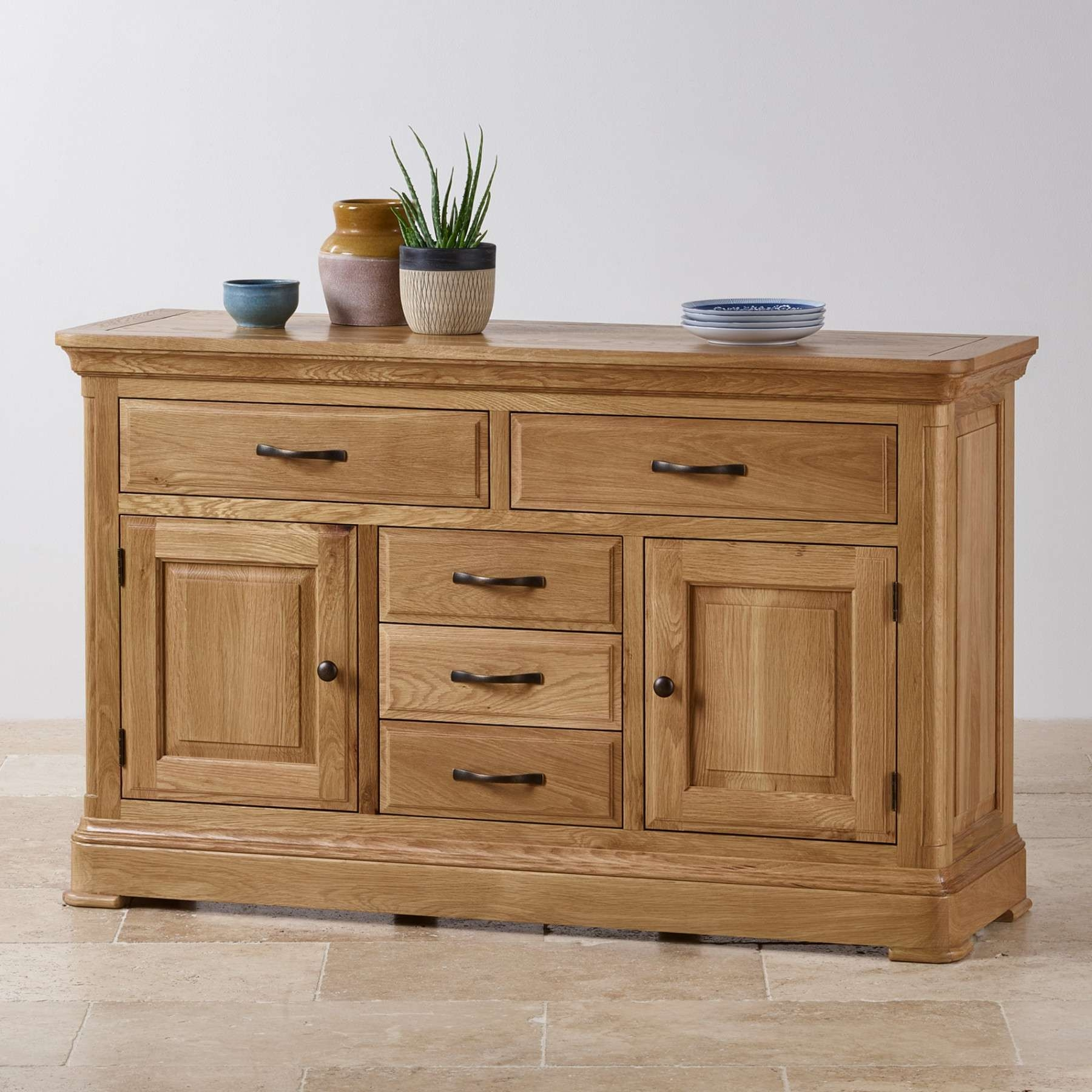 Canterbury Natural Solid Oak Large Sideboard | Sideboards | Dining Within Rustic Oak Large Sideboards (View 1 of 20)