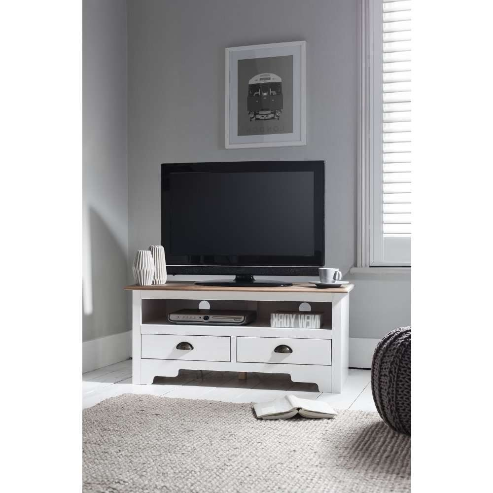 Canterbury Tv Unit In White & Dark Pine | Noa & Nani Regarding White Tv Cabinets (View 5 of 20)