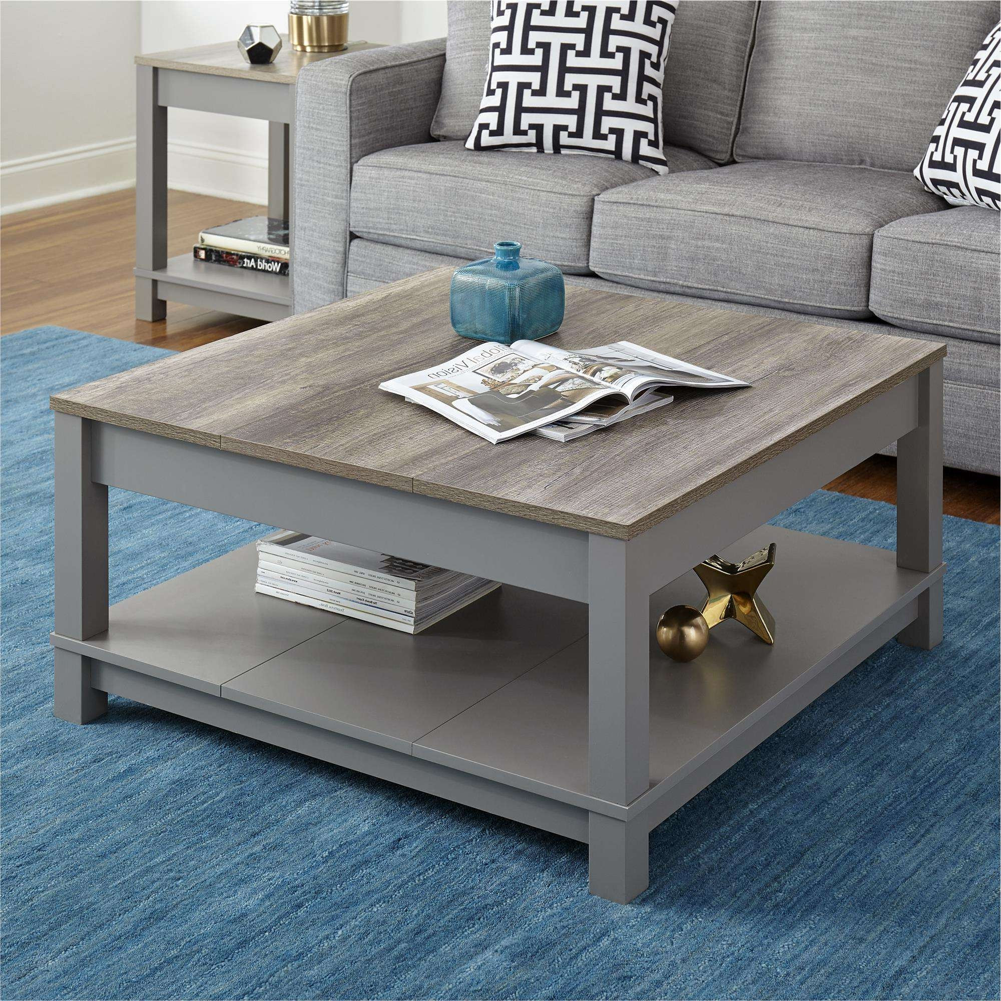 Carver Coffee Table, Gray/weathered Oak (View 3 of 20)