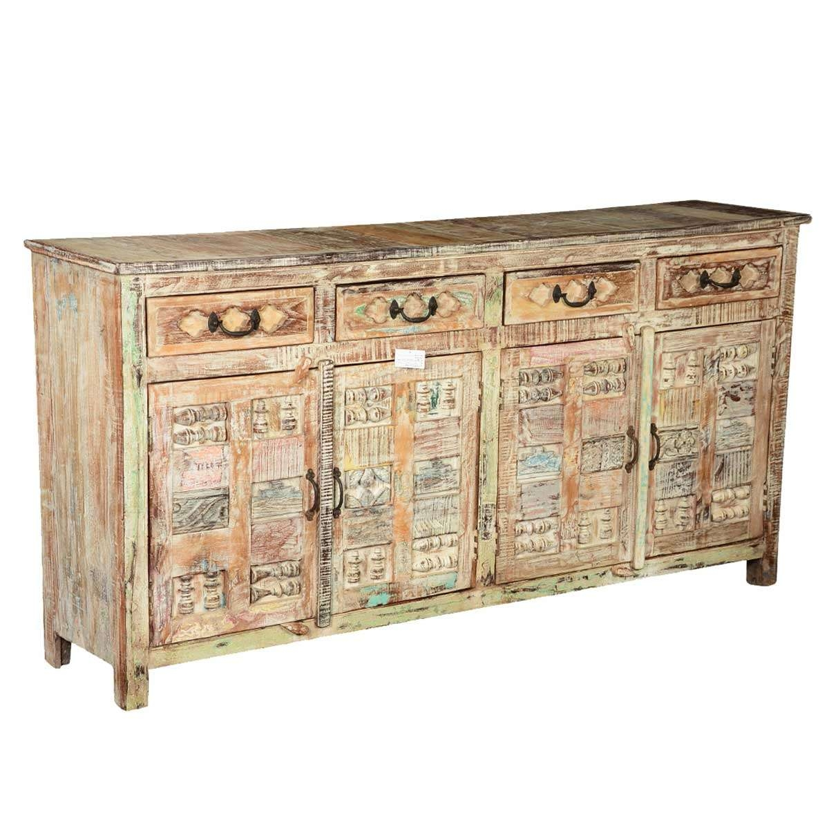 Carvings Distressed Mango Wood 4 Drawer Sideboard Cabinet With Regard To Cheap Sideboards Cabinets (View 20 of 20)