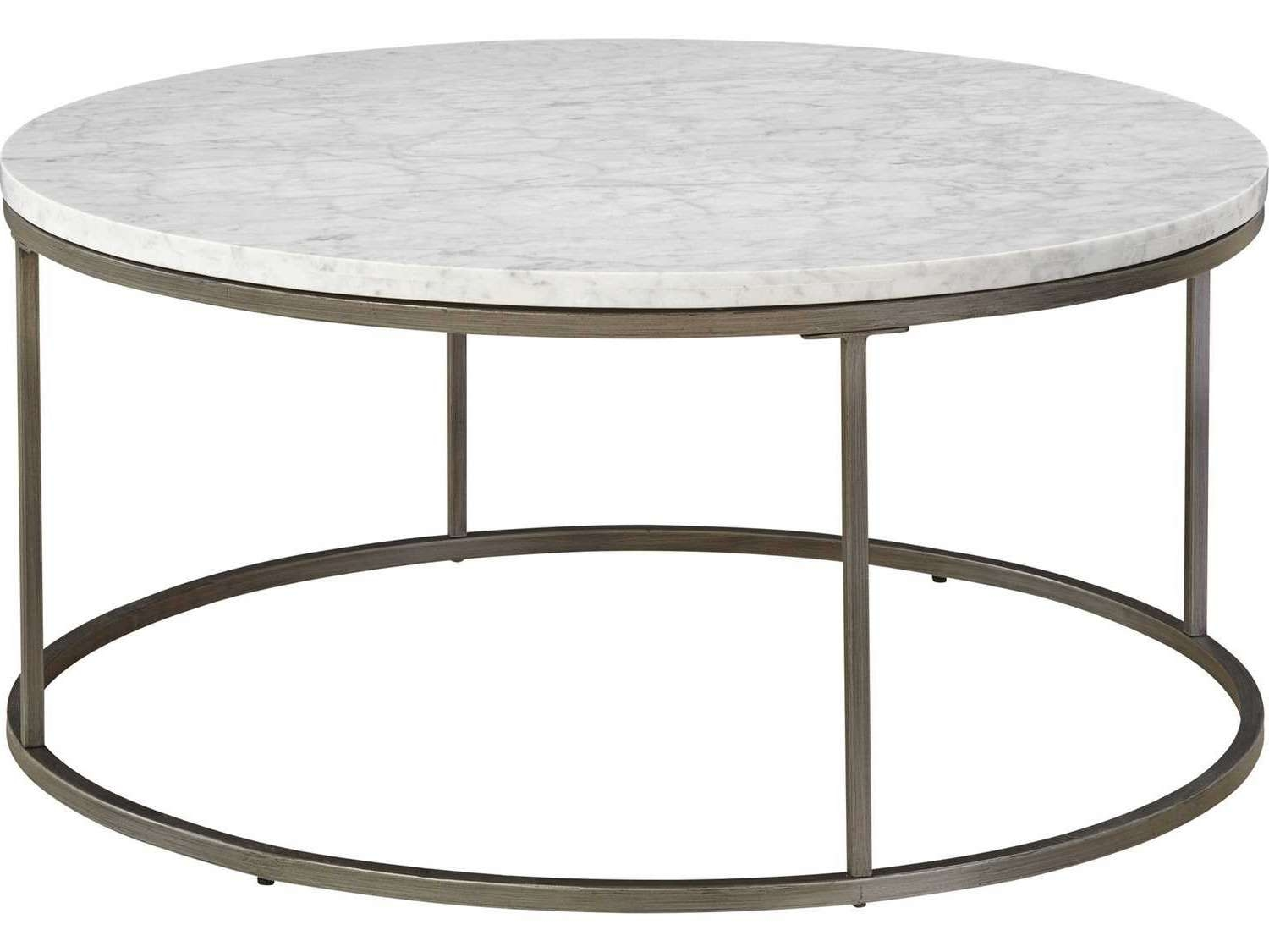 Casana Alana White Marble & Natural Steel 38'' Round Coffee Table In Widely Used Marble Round Coffee Tables (View 4 of 20)