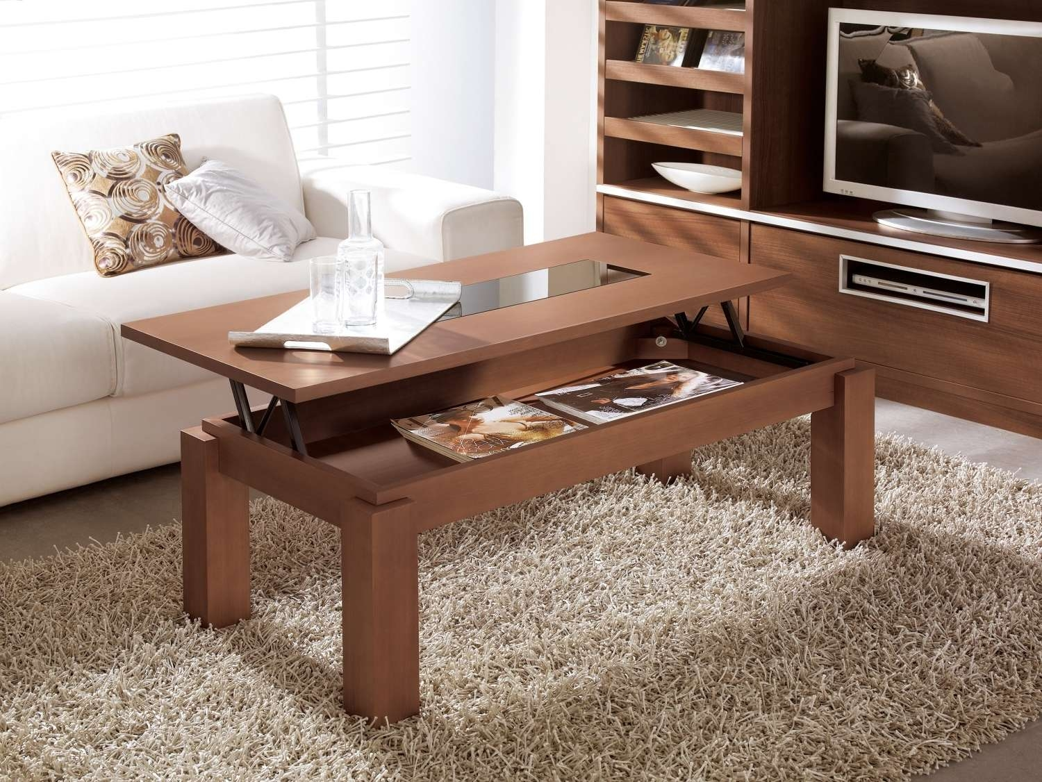 Charming Modern Lift Up Coffee Table With Hard Wood Materials Regarding Newest Coffee Tables Top Lifts Up (View 19 of 20)
