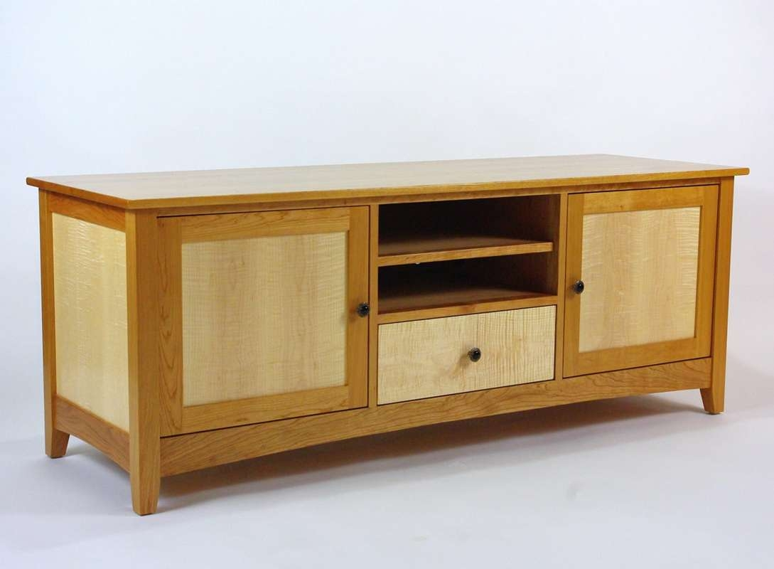 Cherry And Curly Maple Tv Cabinet – Rugged Cross Fine Art Woodworking Pertaining To Maple Tv Cabinets (View 4 of 20)