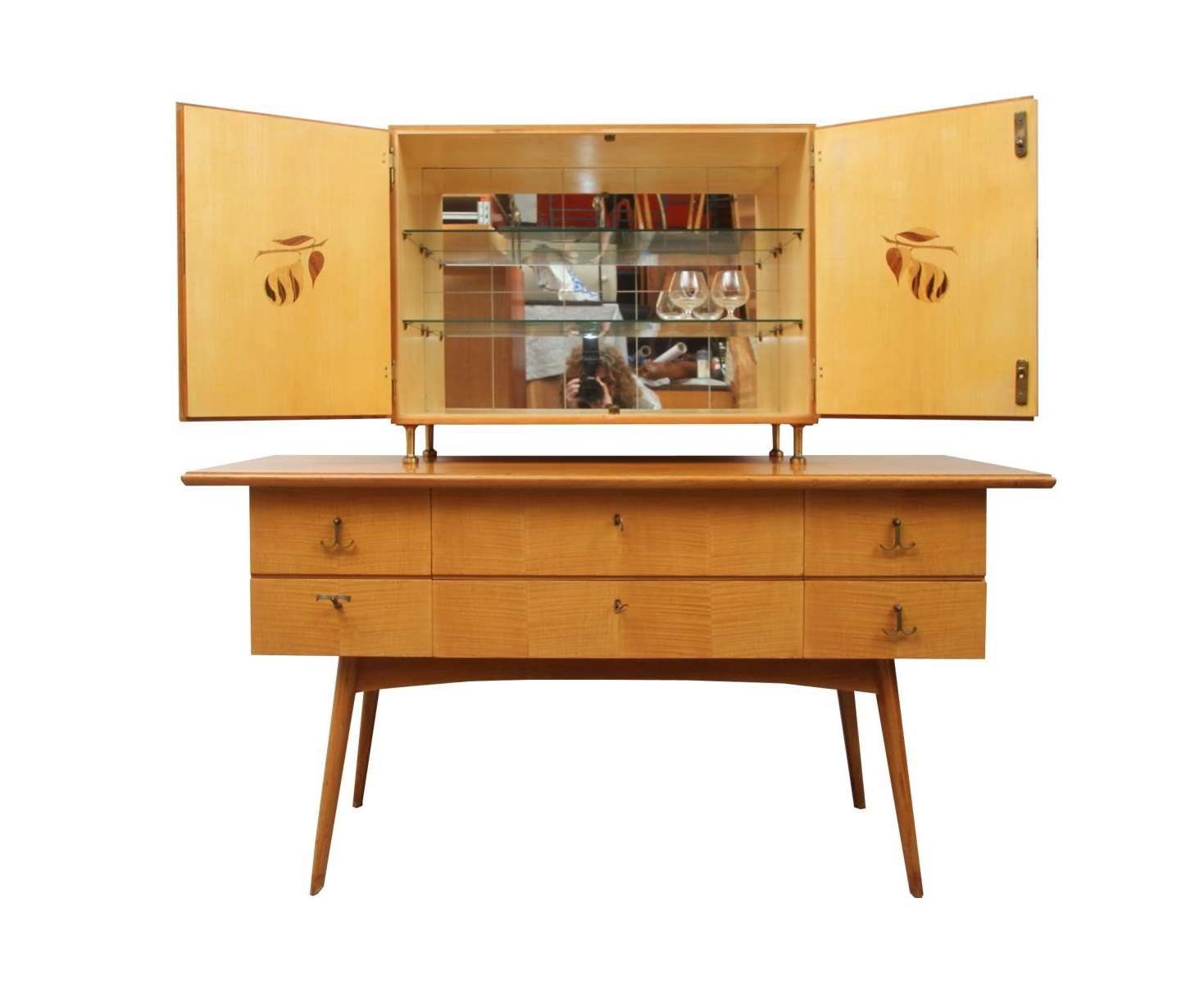 Cherry Wood Sideboard And Bar Cabinet, 1950s For Sale At Pamono Inside Sideboards Bar Cabinet (View 8 of 20)