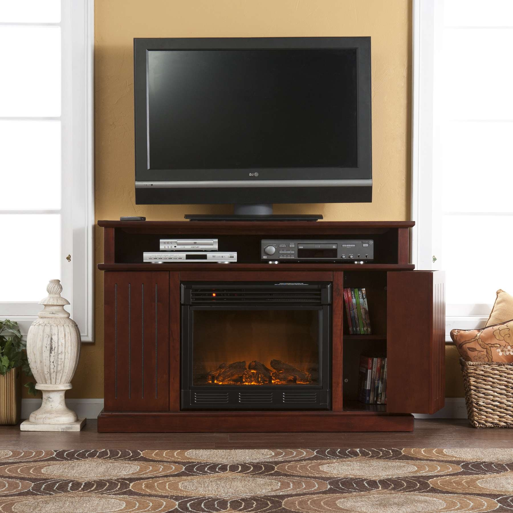 Cherry Wood Tv Stand With Electric Fireplace And Cd Storage Within Cherry Wood Tv Cabinets (View 3 of 20)