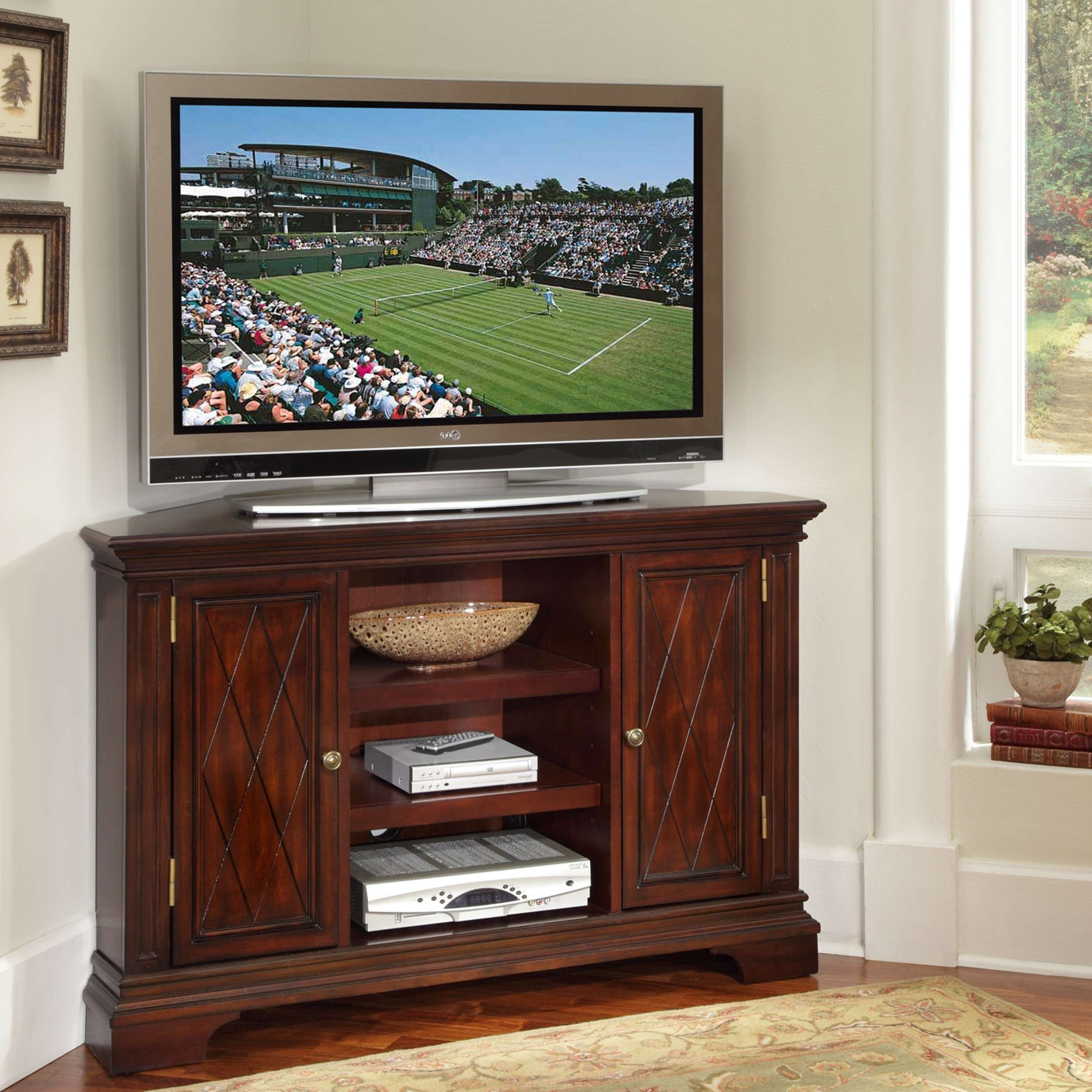 Cherry Wood Tv Stands For Inch Tvs With Cubbies Furniture Flat Within Cherry Wood Tv Cabinets (View 3 of 20)