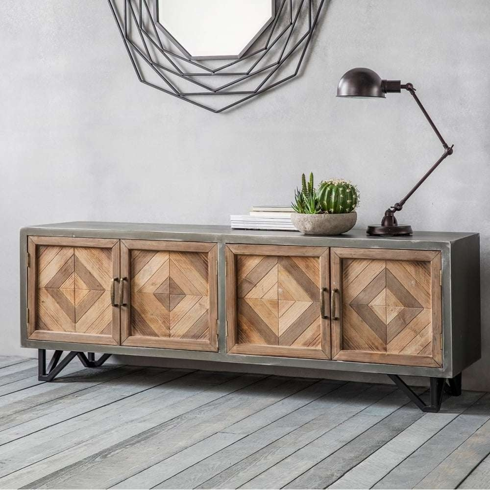 Chevron Industrial Sideboard Metal & Oak | Sideboards & Buffets With Metal Sideboards (View 4 of 20)