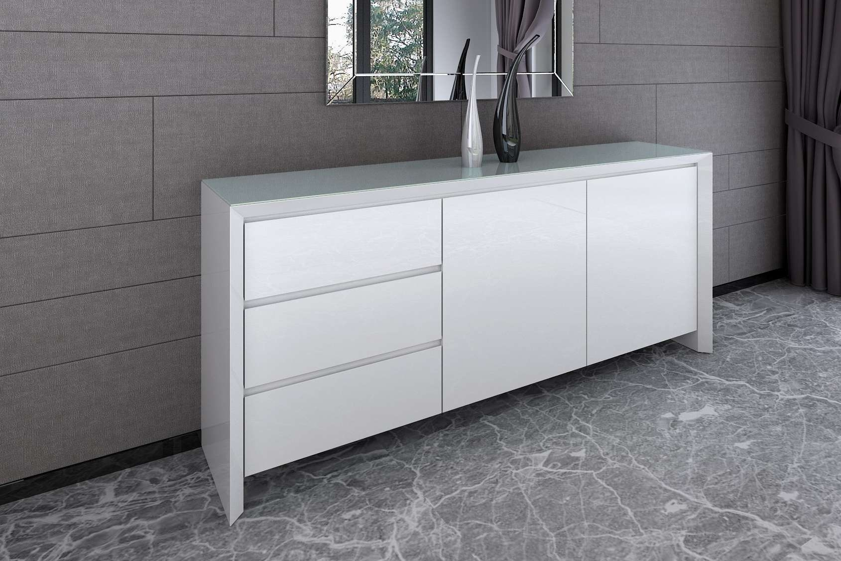 Chic – White Gloss Living And Dining Range With Large White Sideboards (View 4 of 20)