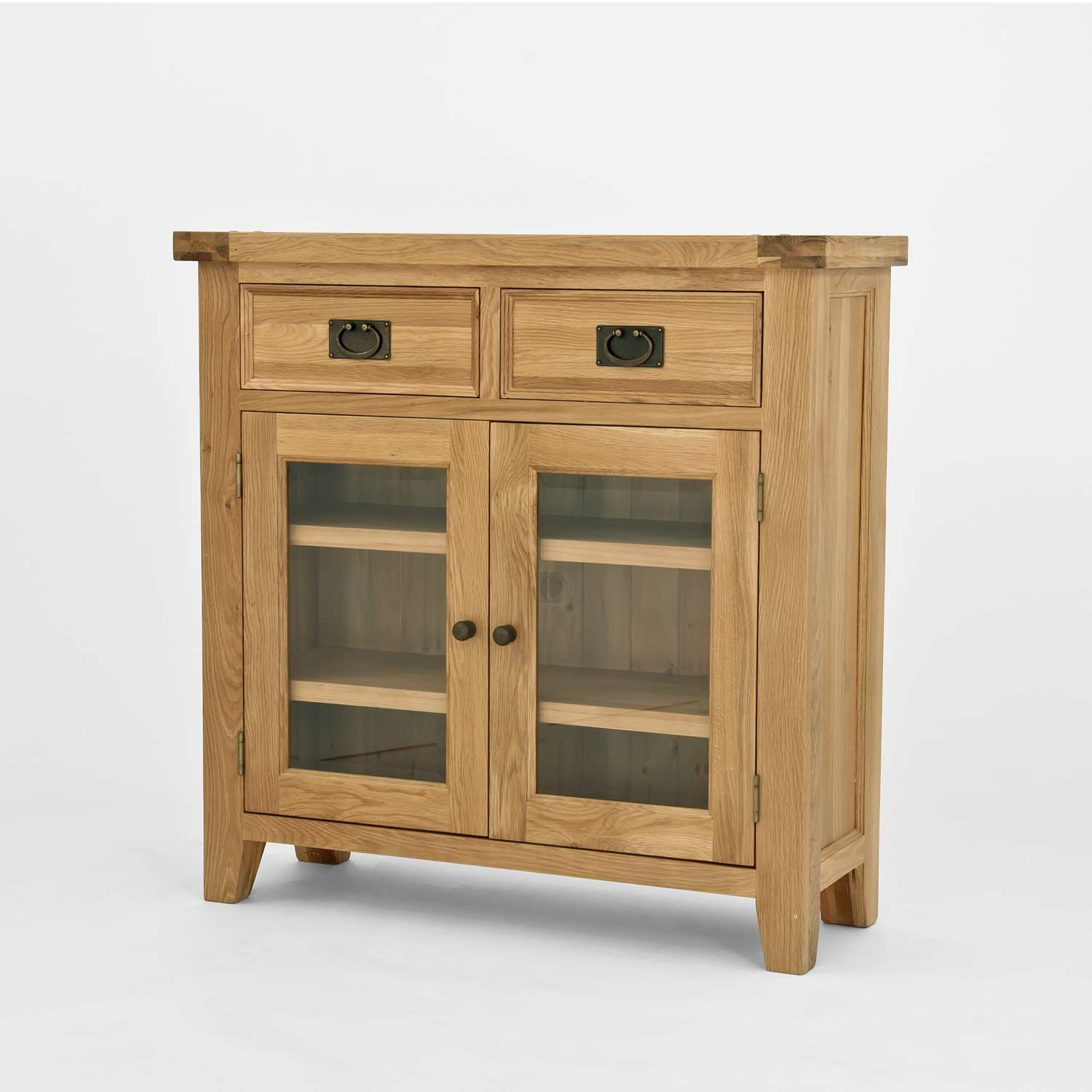 Chiltern Oak Small Sideboard/bookcase With Glass Doors Throughout Sideboards With Drawers (View 16 of 20)