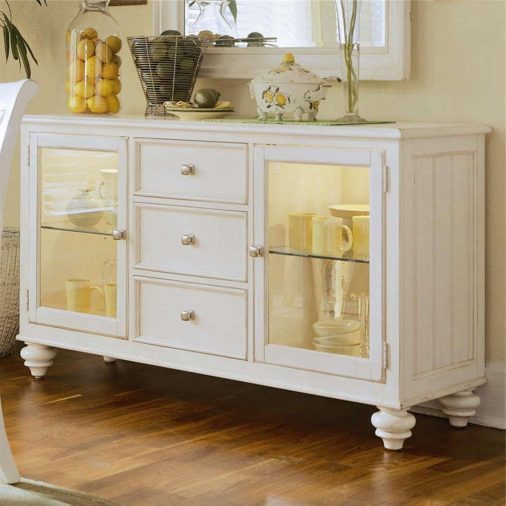 China Buffet/credenza With 2 Glass Doorsamerican Drew | Wolf For White Sideboards With Glass Doors (View 2 of 20)