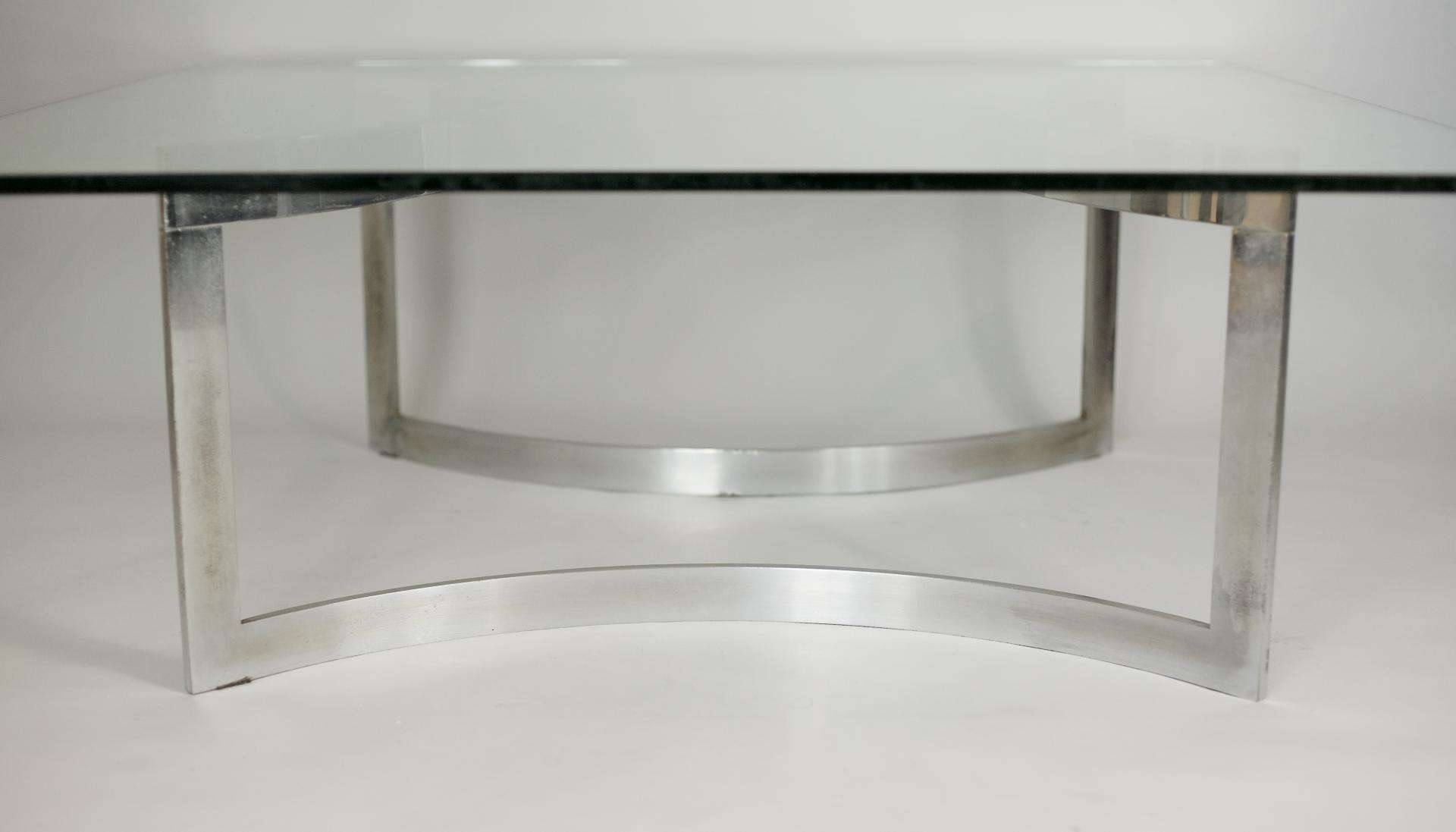 Chromed Steel And Thick Glass Coffee Table From Dassas, 1963 For Regarding 2017 Thick Glass Coffee Table (View 3 of 20)