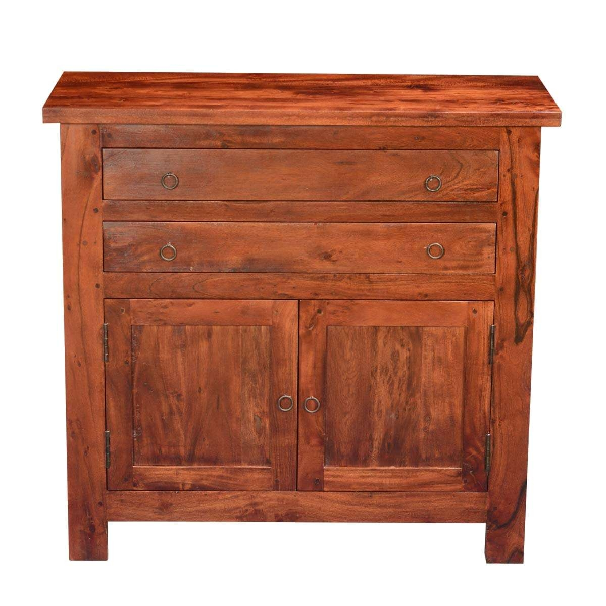 Classic Acacia Wood Buffet Sideboard Cabinet Pertaining To Mission Sideboards (View 8 of 20)