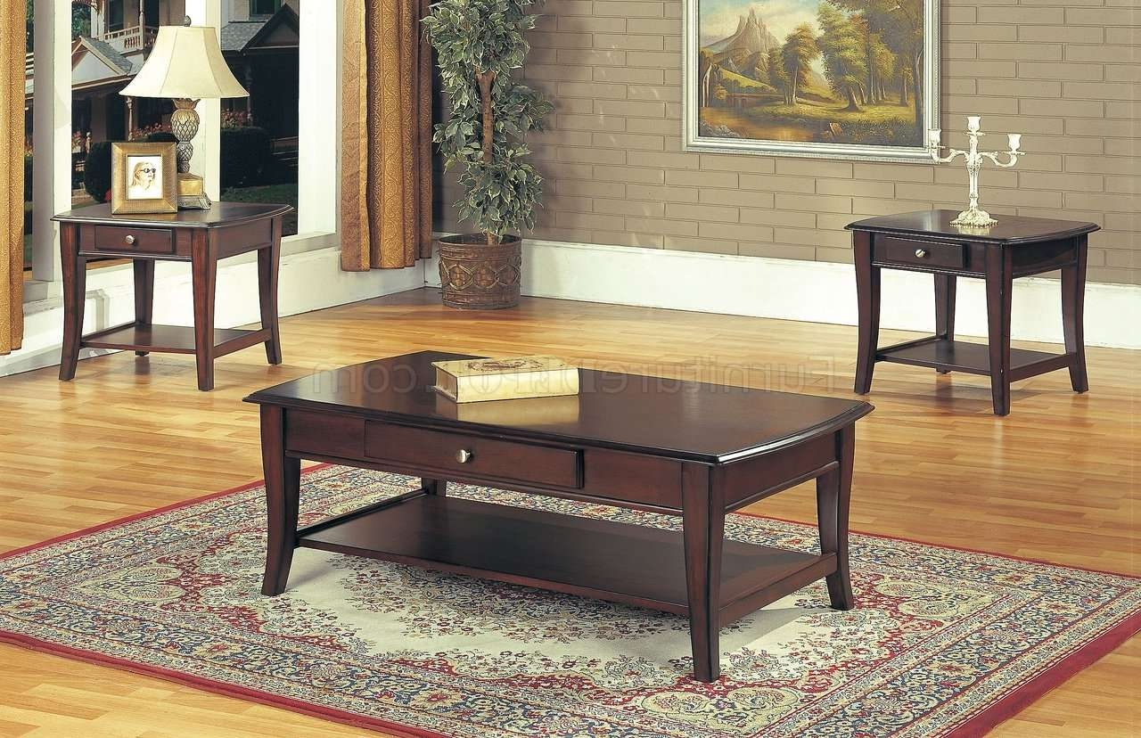 Classic Dark Brown Coffee Table & End Tables 3Pc Set W/drawer Pertaining To Famous Dark Brown Coffee Tables (View 4 of 20)