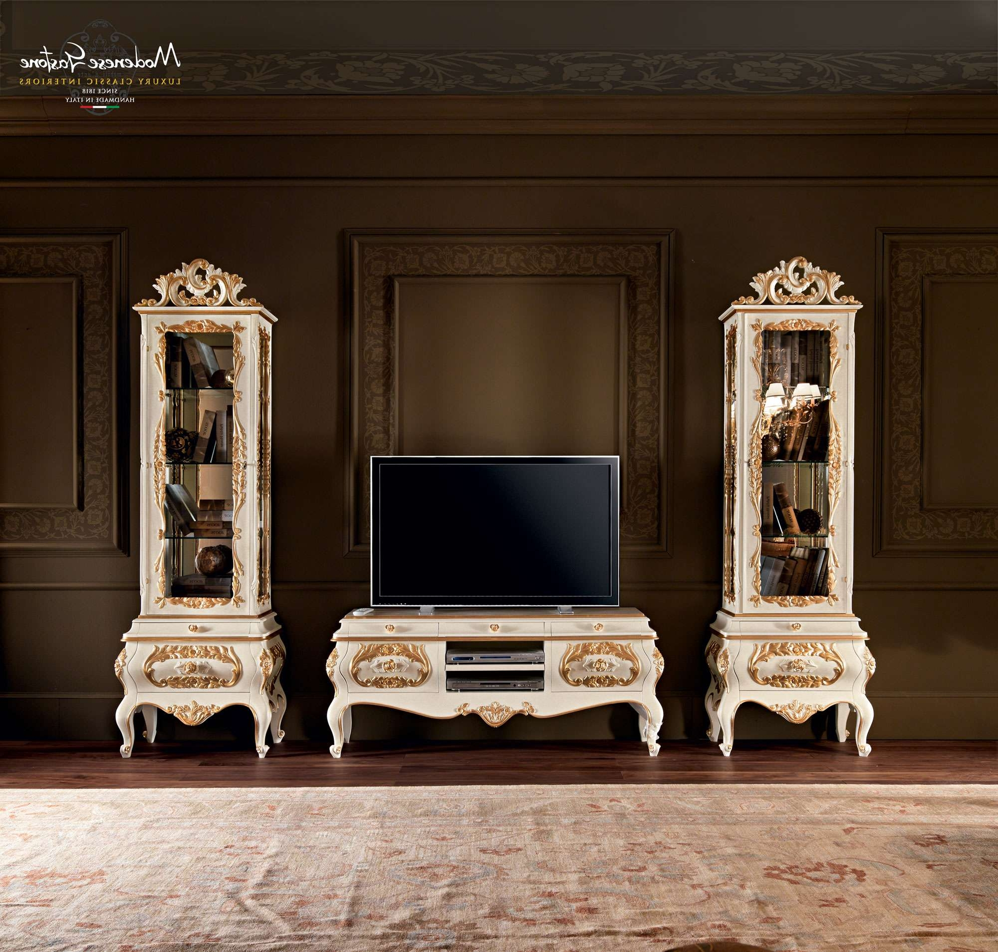 Classic Living Room With Grandfather Clock Painted And Carved Regarding Classic Tv Cabinets (View 1 of 20)