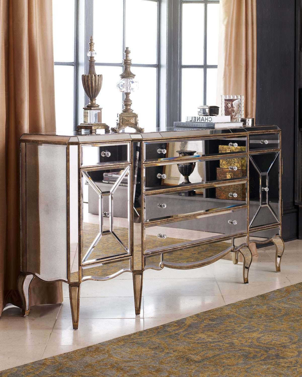 Classic Mirrored Buffet Table — All Furniture : Choosing Mirrored Intended For Mirrored Buffet Sideboards (View 8 of 20)