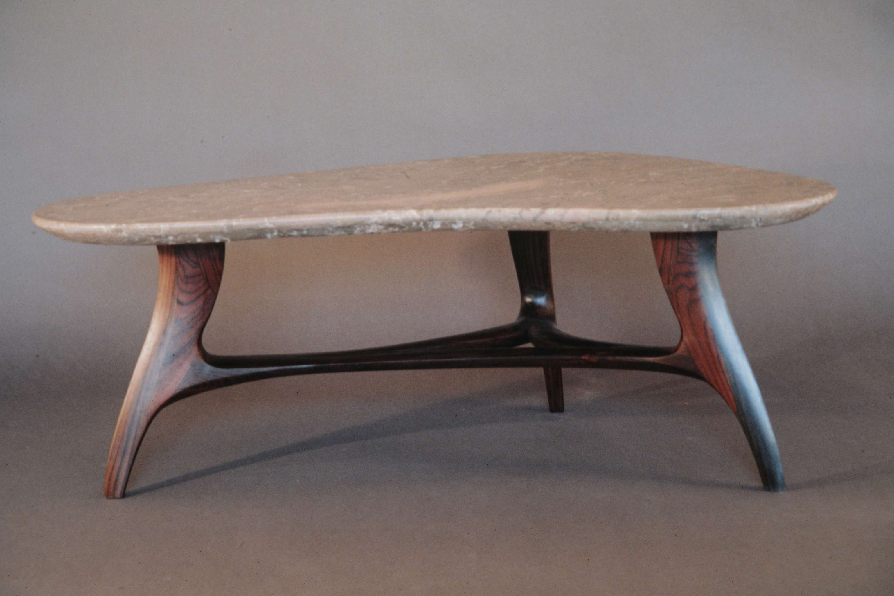 Classic Three Wooden Base Legs And Triangle Shape Stones Top As With Regard To Best And Newest Stone Coffee Table (View 4 of 20)