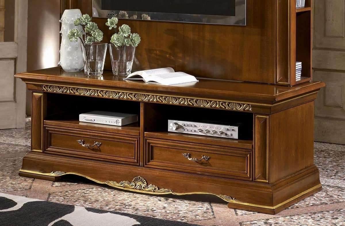 Classic Tv Stand In Carved Wood, Gold Leaf Finish | Idfdesign For Classic Tv Cabinets (View 13 of 20)