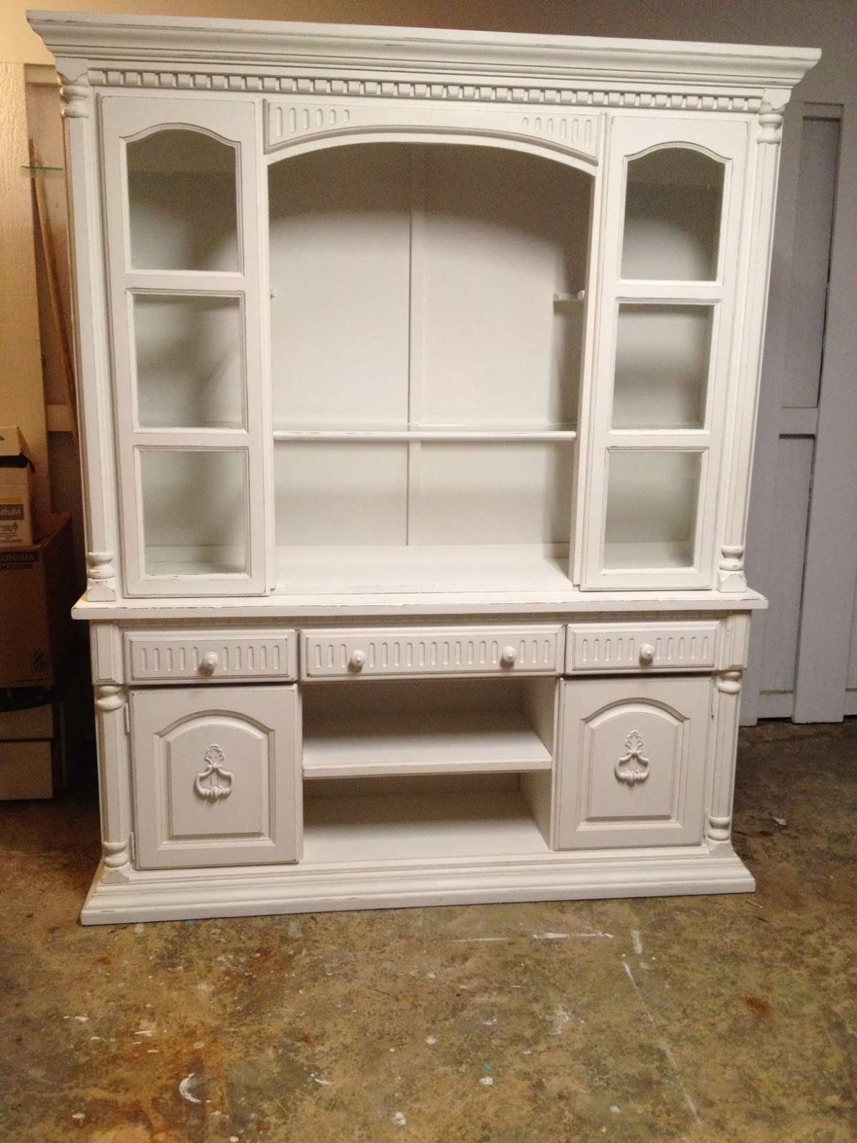 Classic White Painted Oak Wood Tv Cabinet With Shelves Of Dazzling With Enclosed Tv Cabinets With Doors (View 2 of 20)