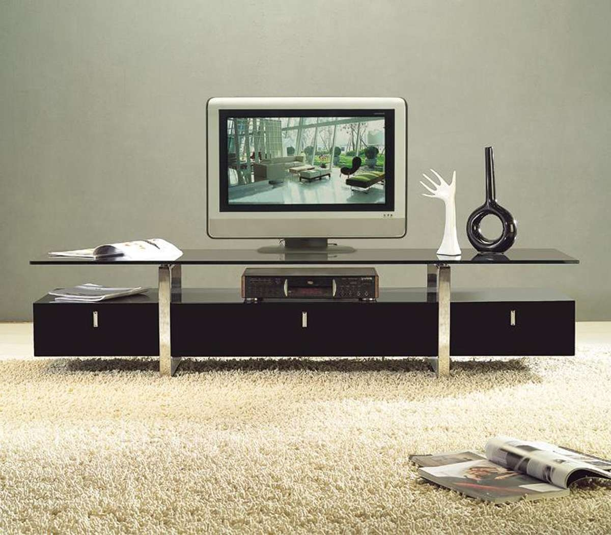 Clear Lined Design Contemporary Brown Color Tv Stand With Glass In Stylish Tv Cabinets (View 3 of 20)