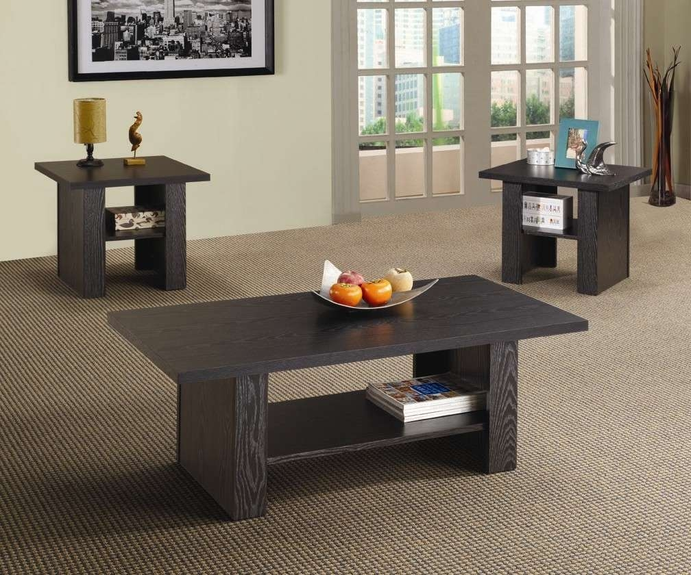 Coaster Furniture 3 Piece Wood Coffee Table Set – Black – Walmart Within Trendy Black Wood Coffee Tables (View 4 of 20)