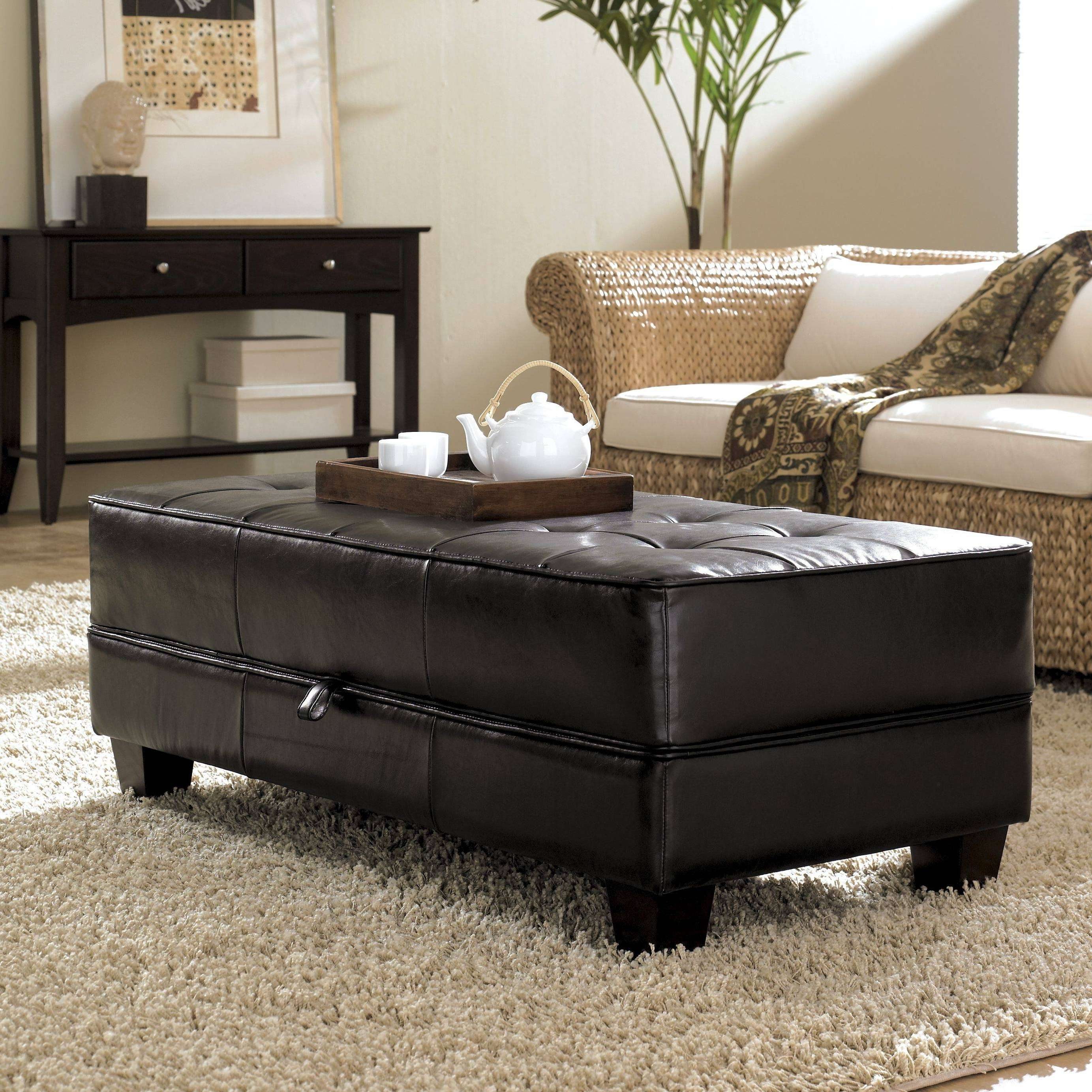 Coffee Table 2017 Popular Brown Leather Ottoman Coffee Tables With Regard To Fashionable Brown Leather Ottoman Coffee Tables With Storages (View 3 of 20)