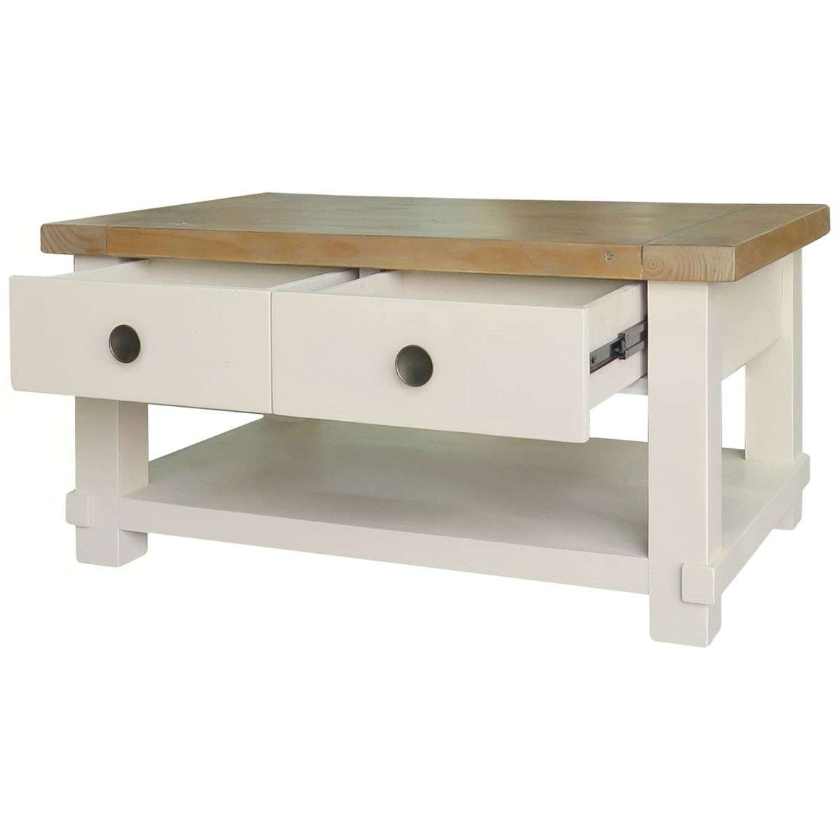 Coffee Table : Adorable Cream Coffee Table With Drawers Garden For Well Known Cream Coffee Tables With Drawers (View 1 of 20)