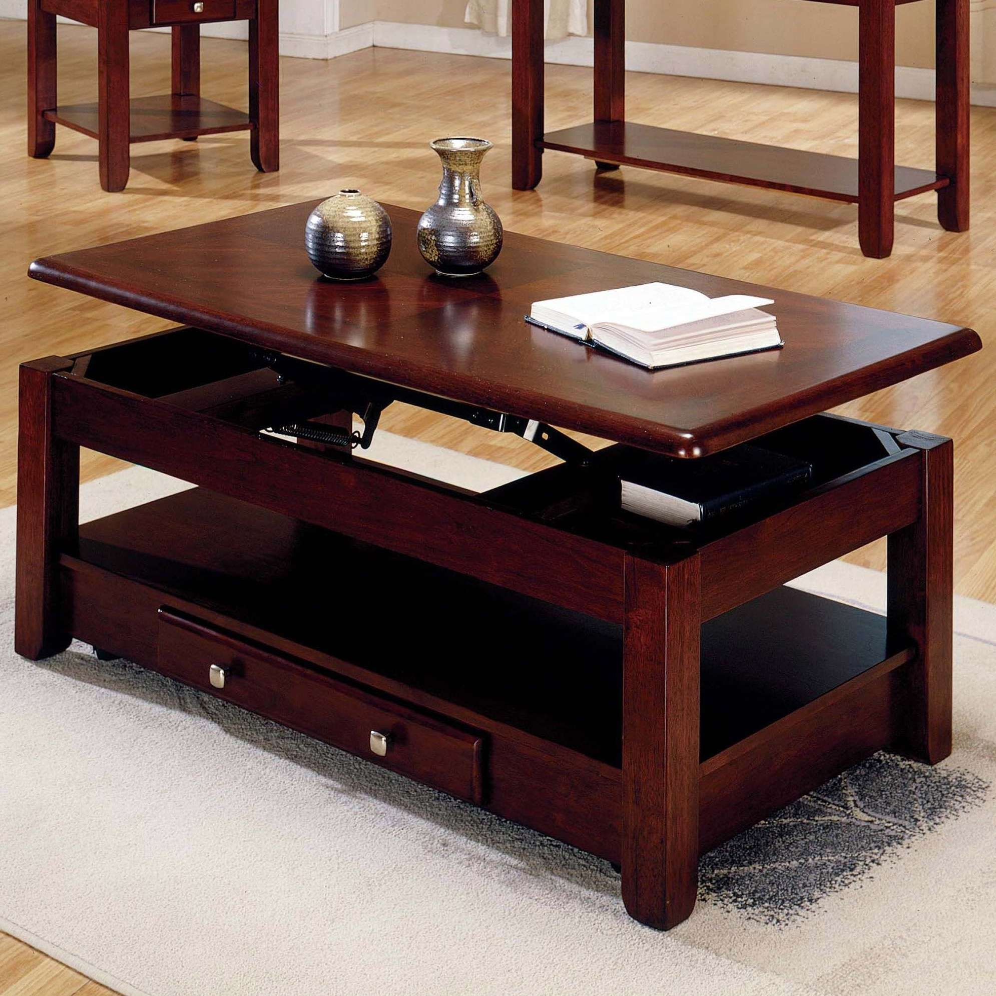 Coffee Table : Amazing Coffee Table Square Cherry Coffee Table For Most Recent Coffee Tables With Lift Top Storage (View 13 of 20)