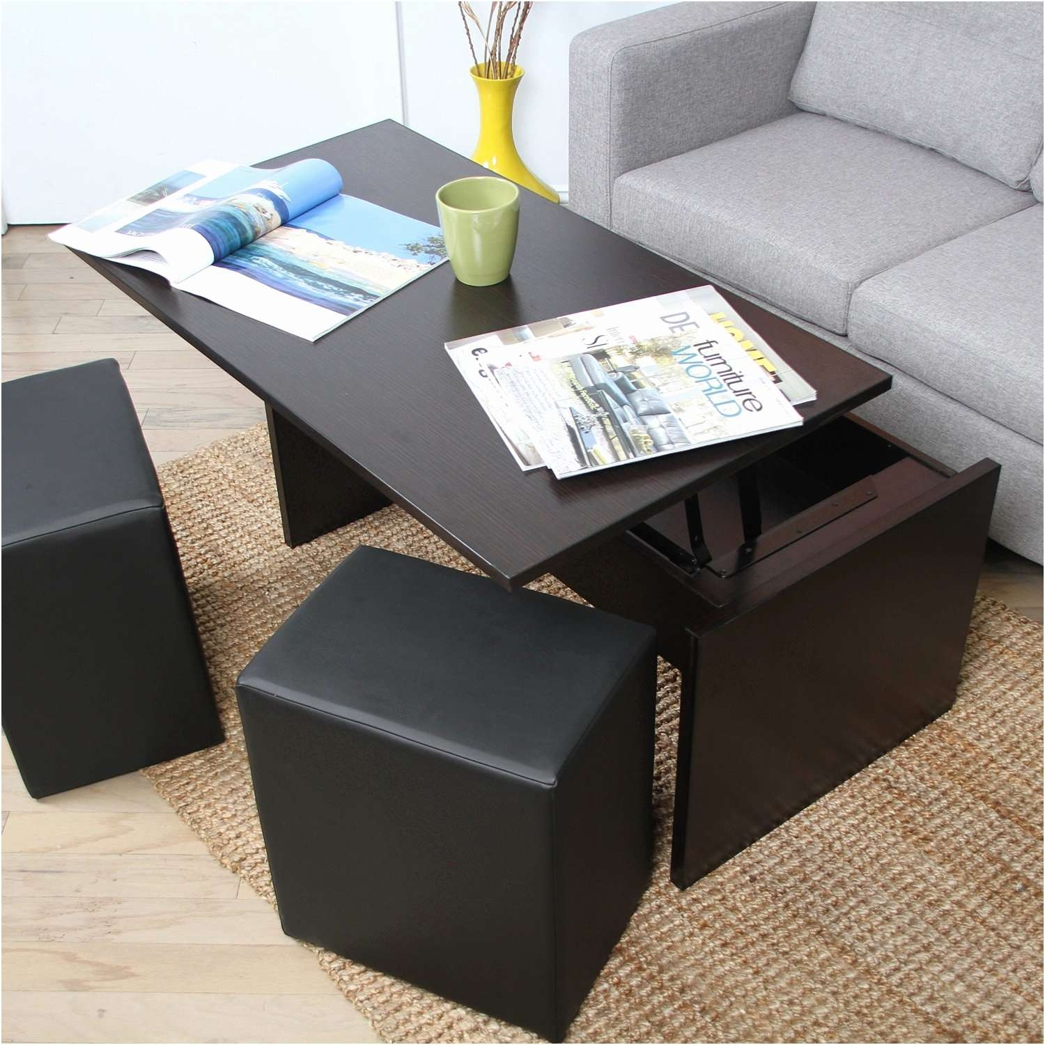 Coffee Table : Amazing Concrete Coffee Table Dark Wood Coffee Pertaining To Newest Dark Wooden Coffee Tables (View 9 of 20)