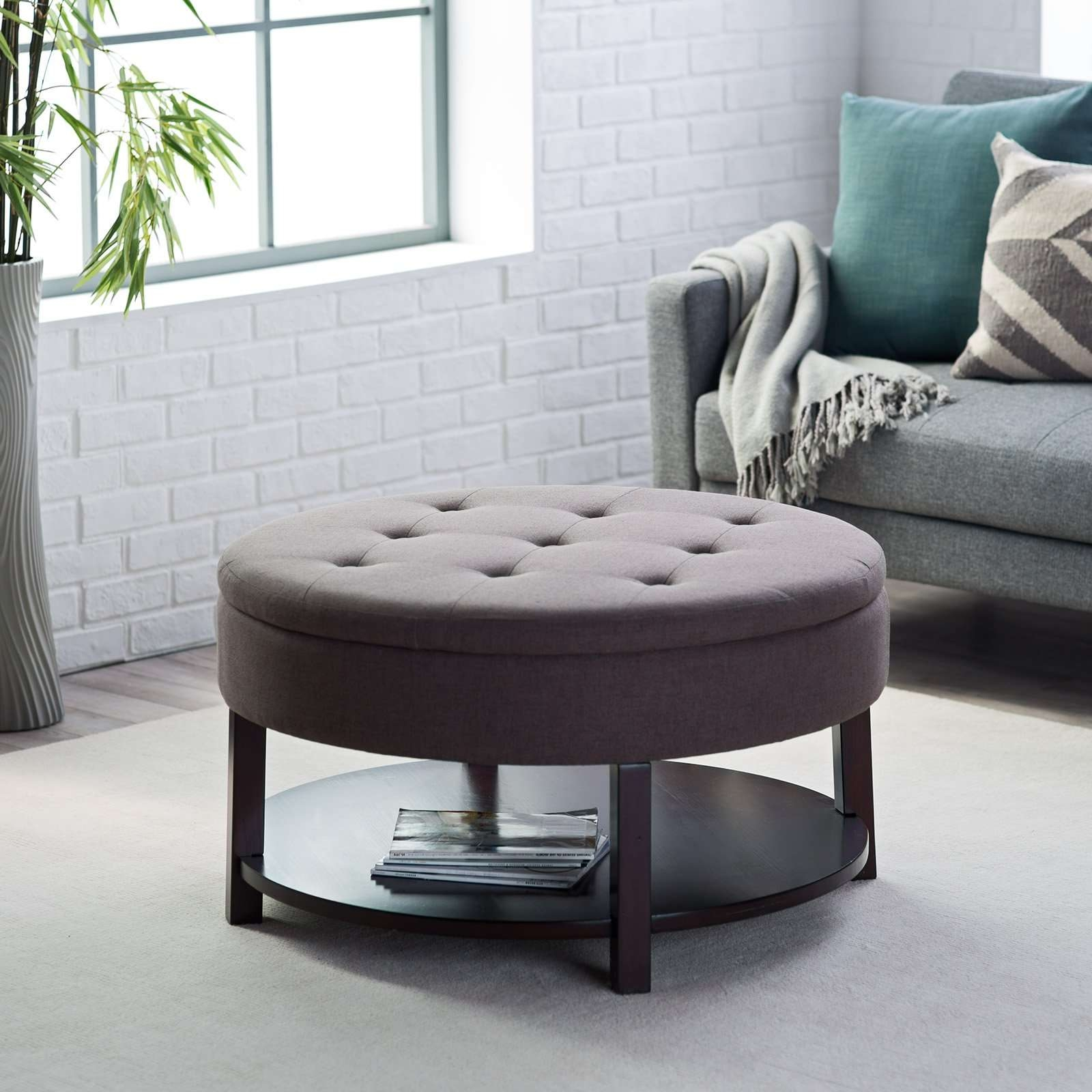Coffee Table : Amazing Footstool Coffee Table Footstool Coffee Intended For Favorite Round Upholstered Coffee Tables (View 4 of 20)
