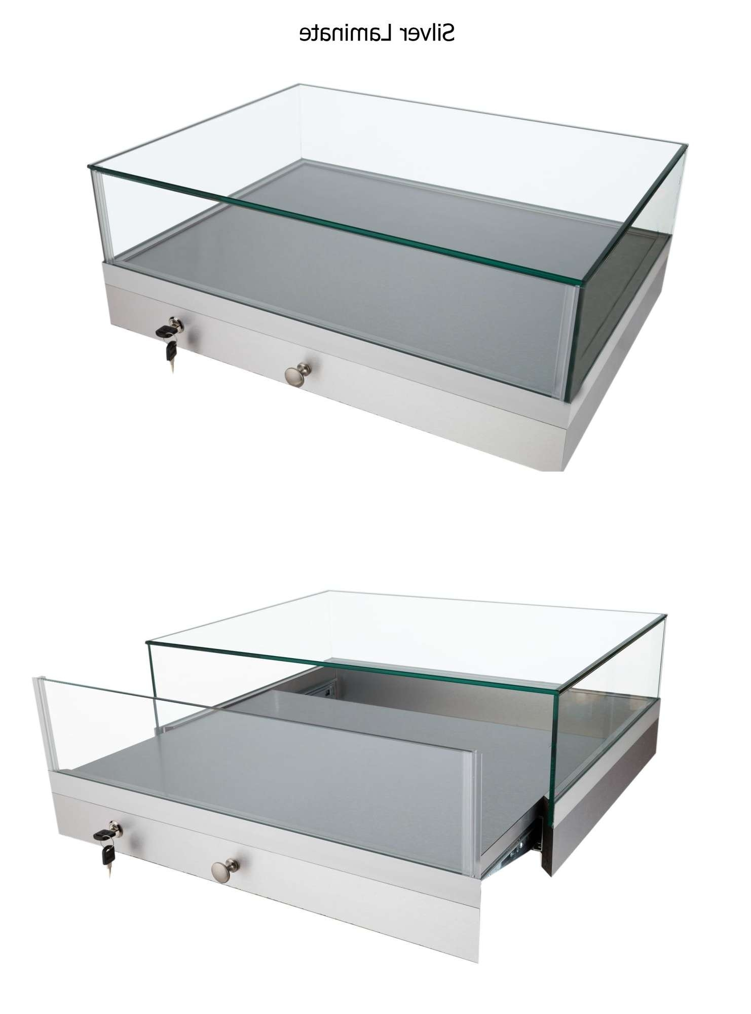 Coffee Table : Amazing Glass Display Case Coffee Table Glass Top Throughout Current Glass Top Display Coffee Tables With Drawers (View 18 of 20)