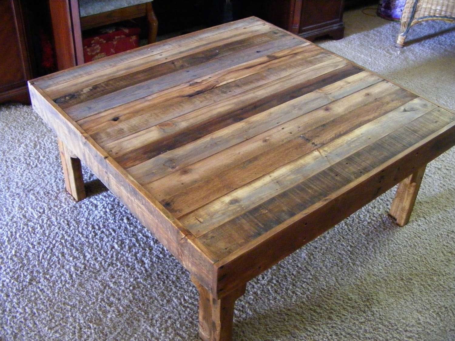 Coffee Table : Amazing Reclaimed Wood End Table Wood Block Coffee Regarding Trendy Hardwood Coffee Tables With Storage (View 7 of 20)