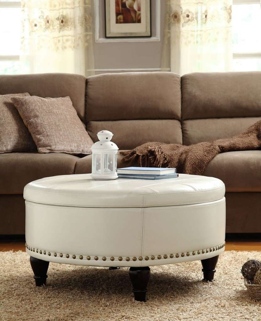 Coffee Table : Amazing White Leather Ottoman Coffee Table Storage Throughout Recent Round Upholstered Coffee Tables (View 5 of 20)